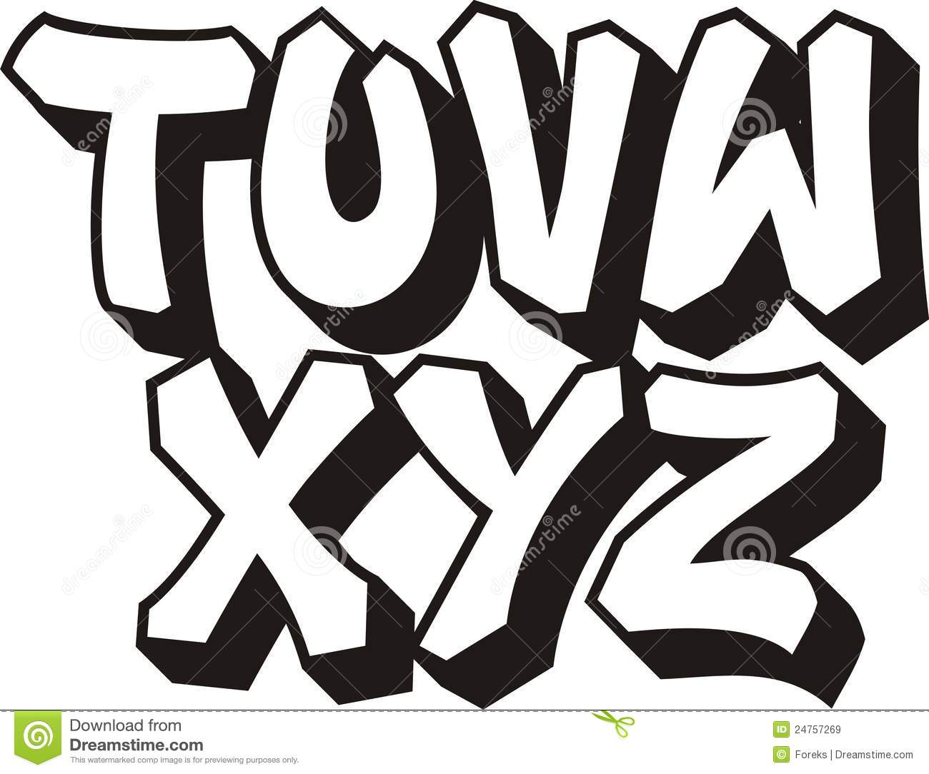 Graffiti font alphabet part 3
