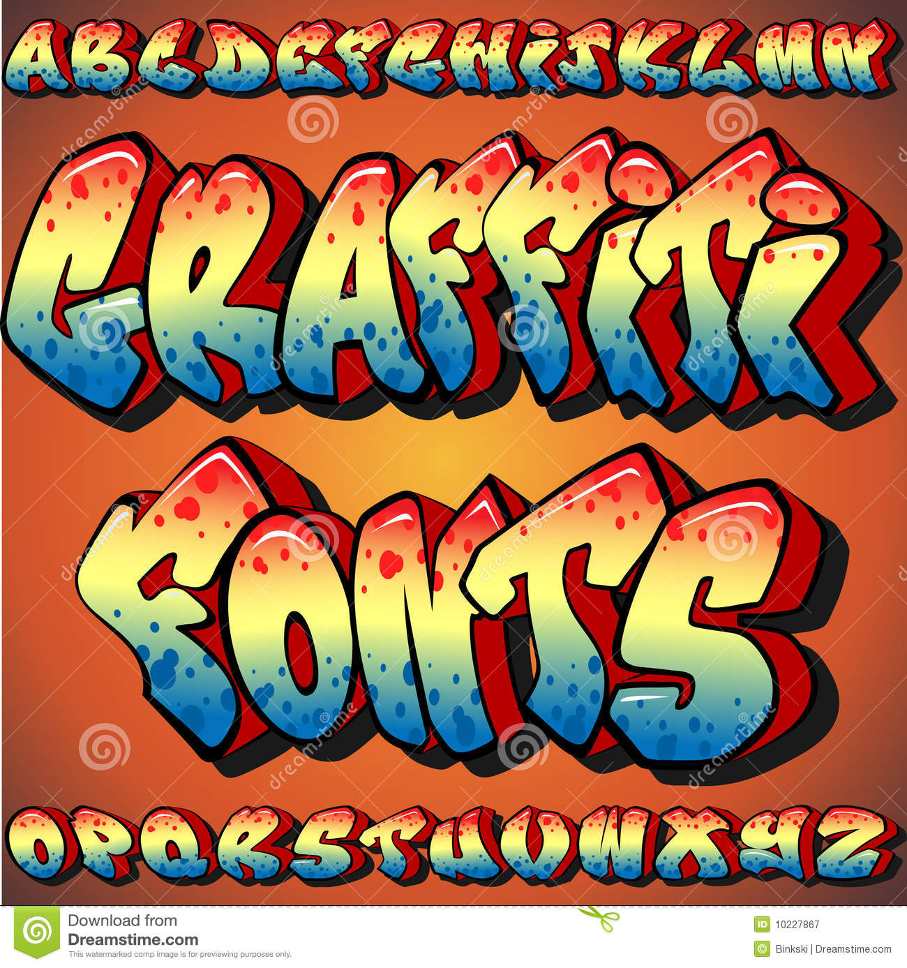 Graffiti fonts royalty free illustration
