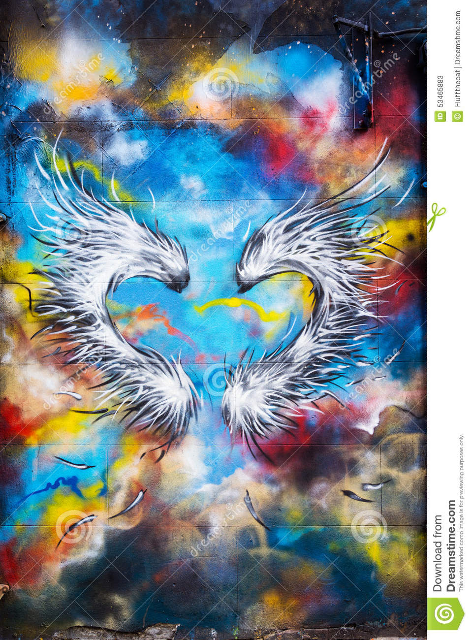 Graffiti Heart Shaped Feather Wings Editorial Stock Photo