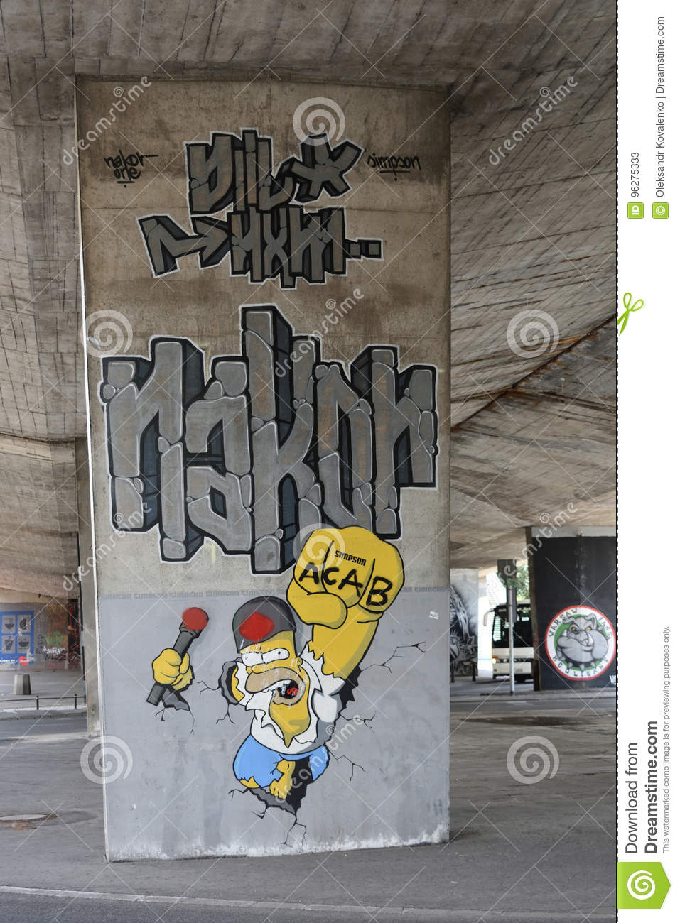 Graffiti With Homer Simpson Created By Fans Of Legia Warsaw Football Club