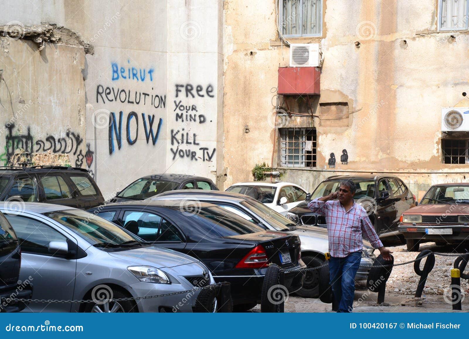 Graffiti in im Stadtzentrum gelegenem Beirut, der Libanon