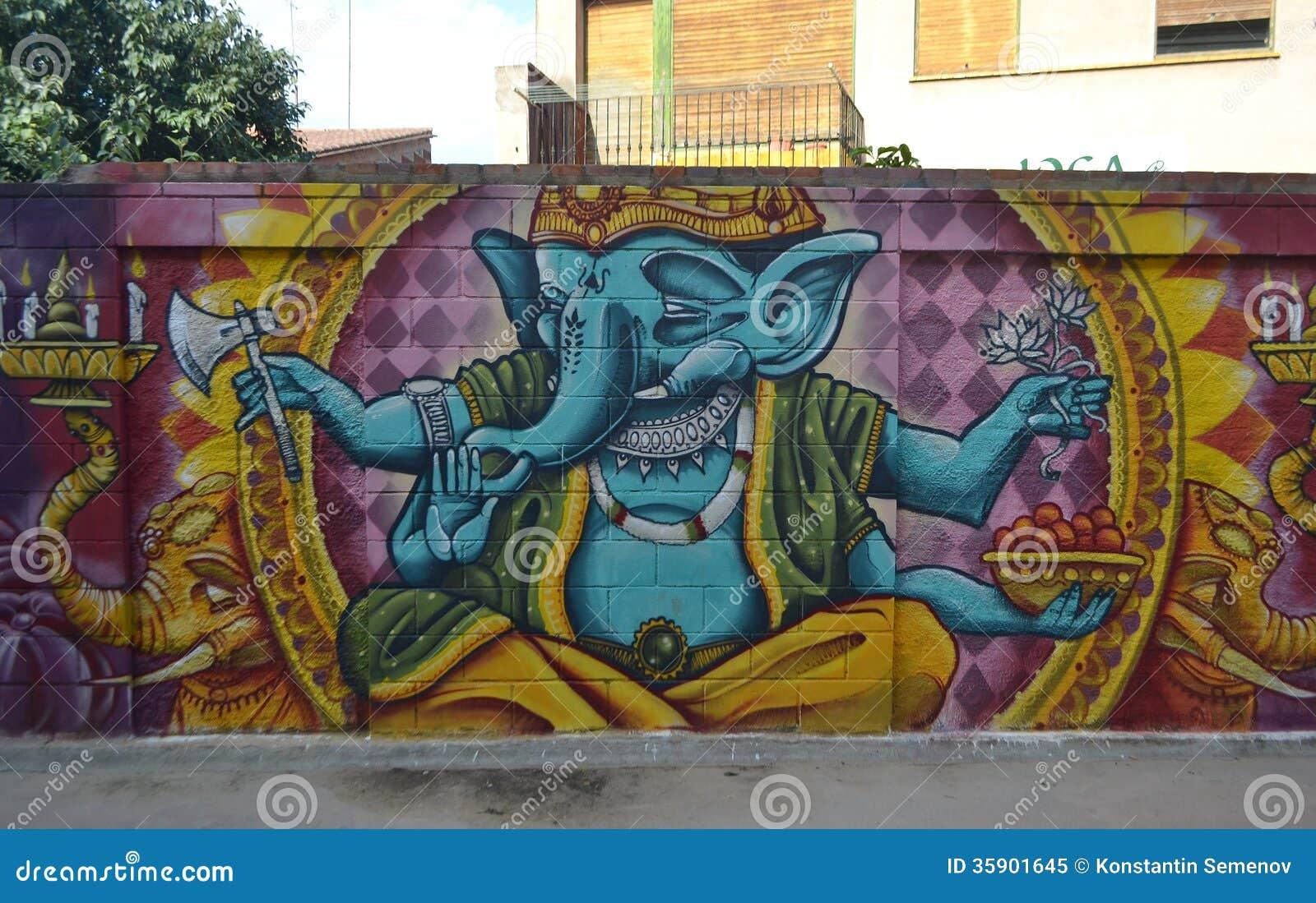 Graffiti On Indian Mythology Stock Image Image 35901645