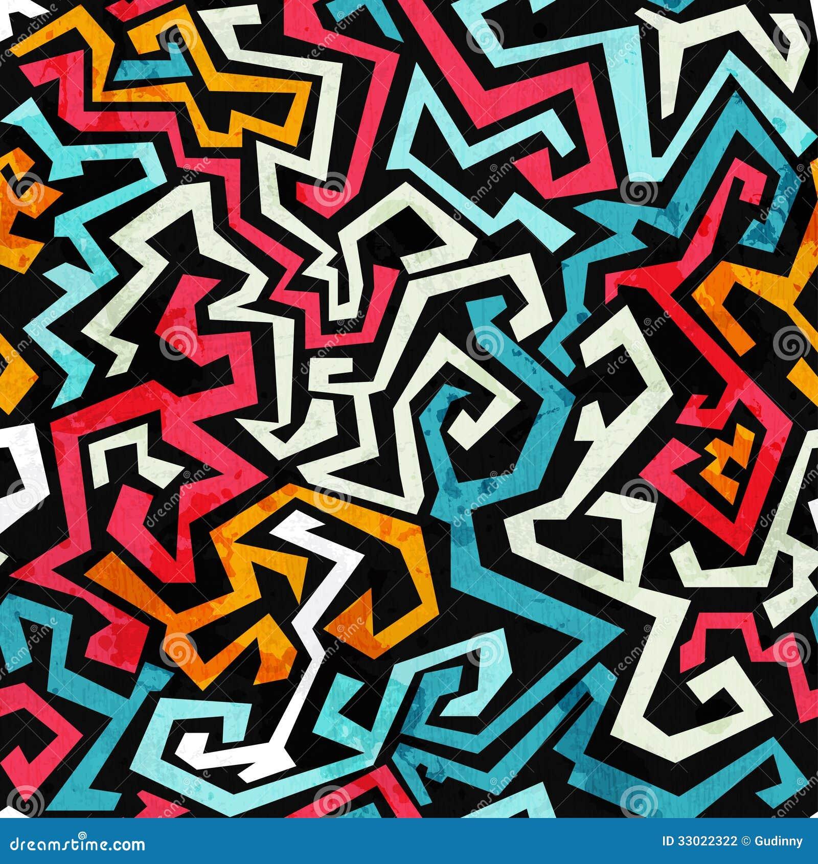 graffiti kurven nahtloses muster mit schmutzeffekt vektor. Black Bedroom Furniture Sets. Home Design Ideas