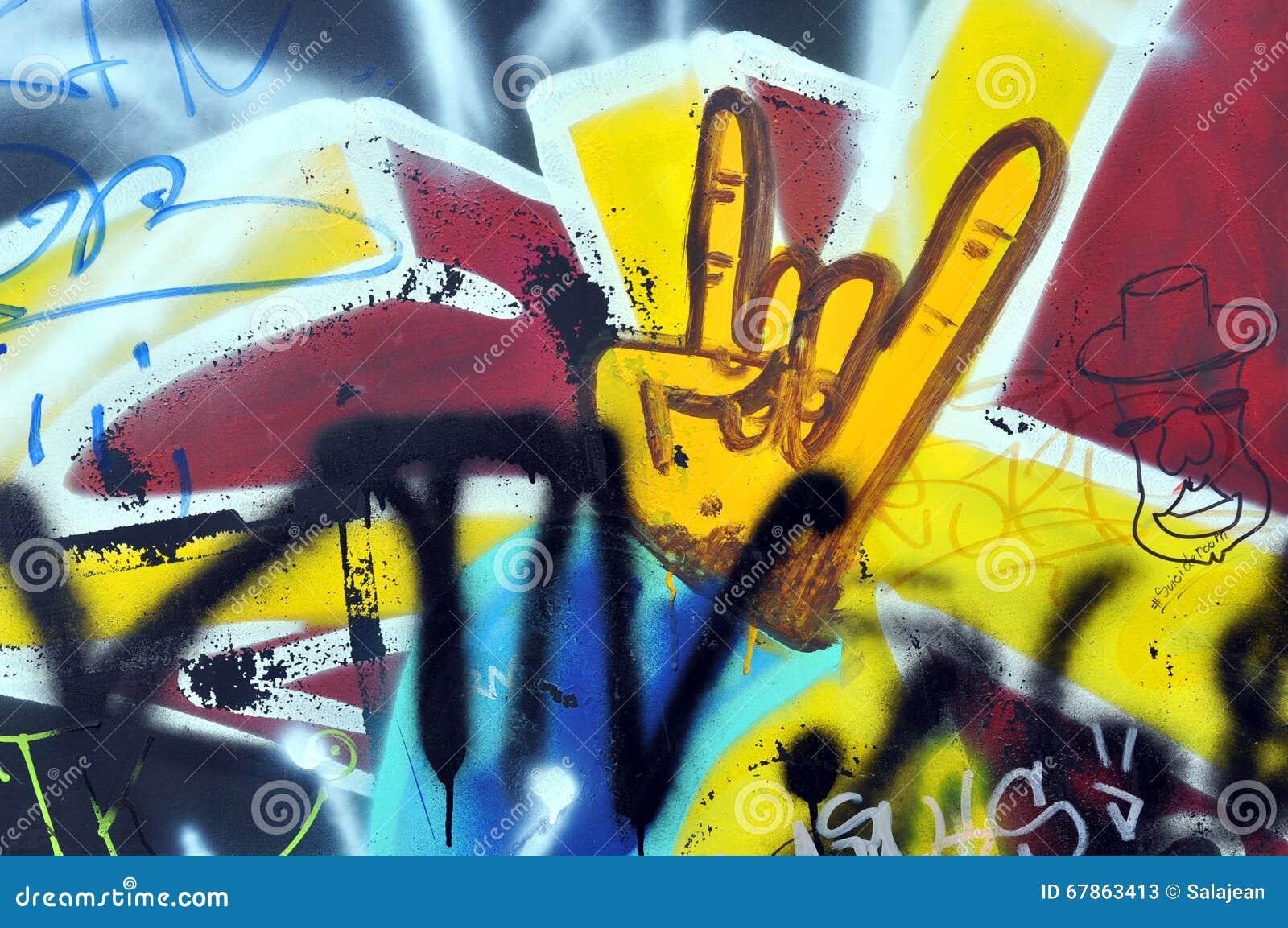 Graffiti op de muur in het vleetpark