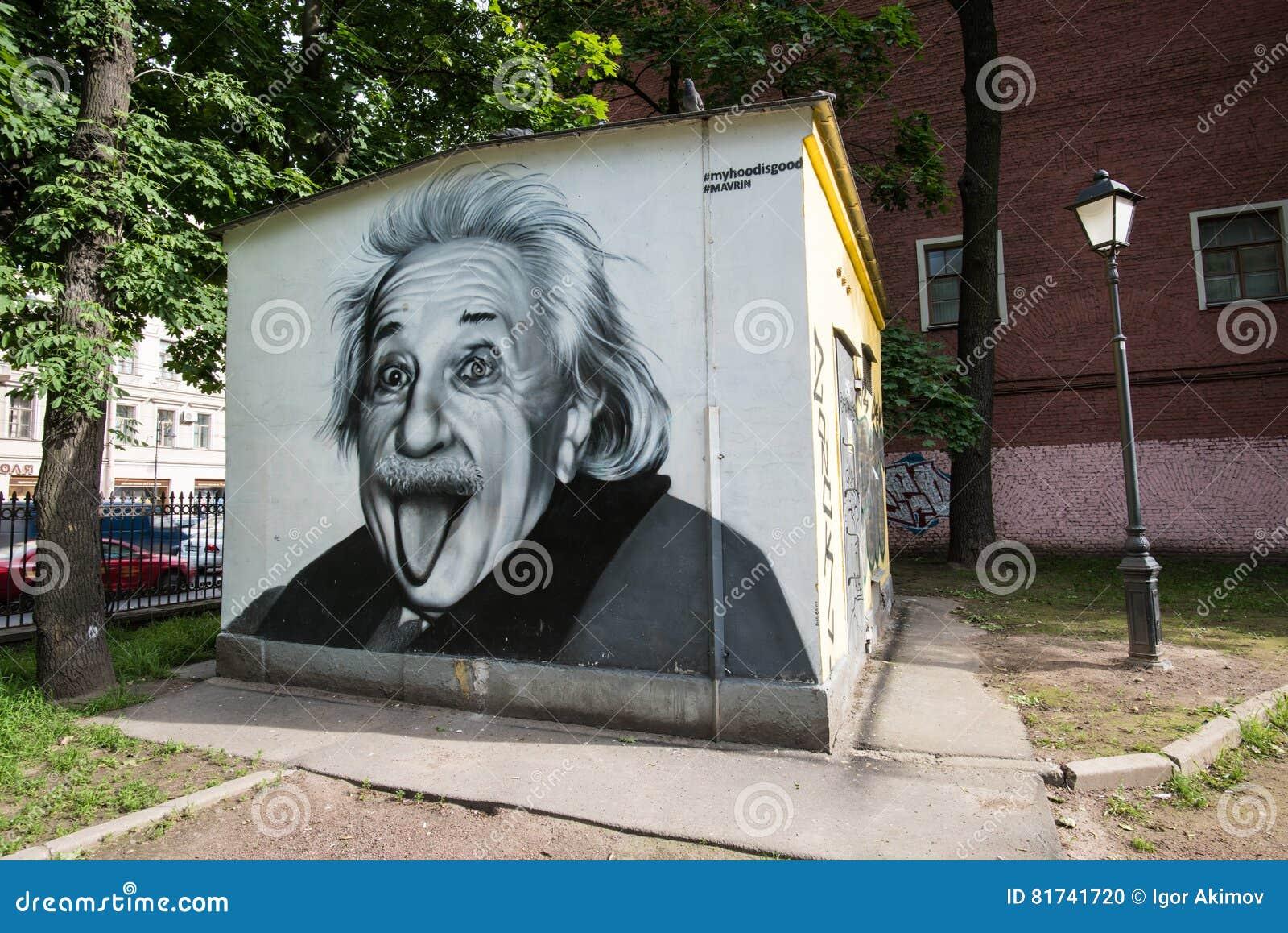 Graffiti portret Albert Einstein