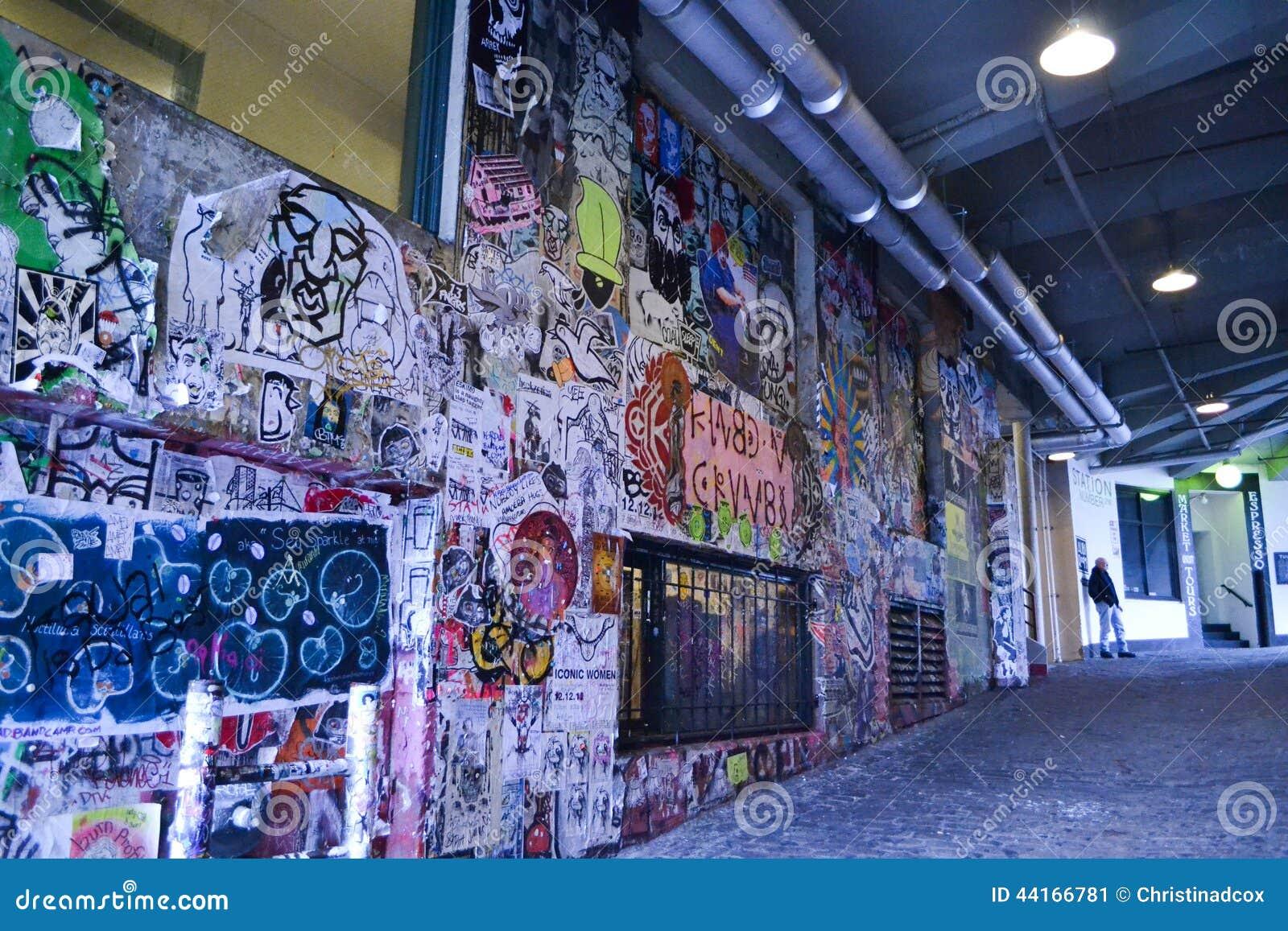 Graffiti At Post Alley Seattle Washington Editorial