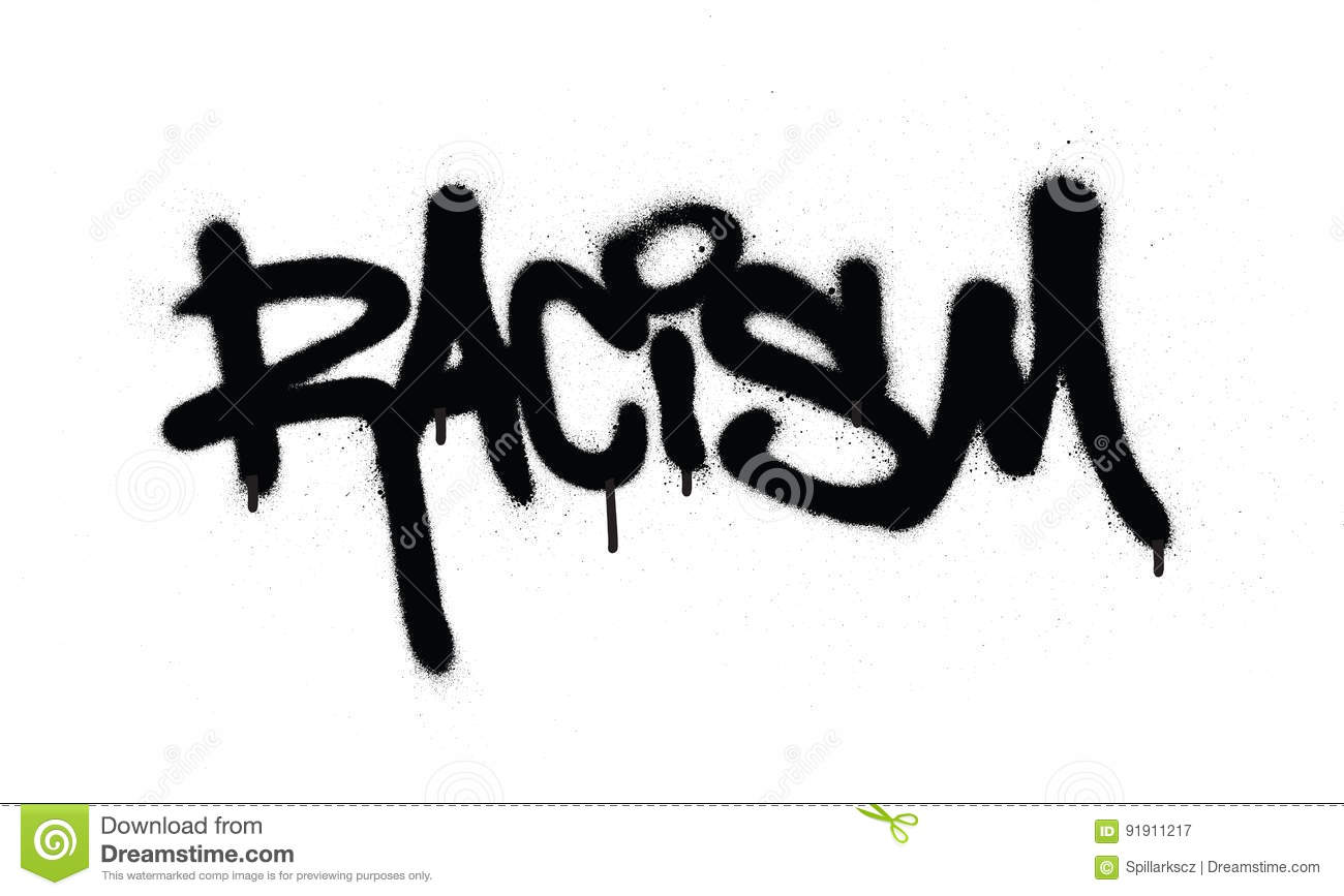 Graffiti racism word sprayed in black over white stock vector