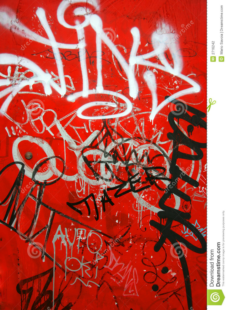 Graffiti On Red, Vertical Stock Photography - Image: 2716242