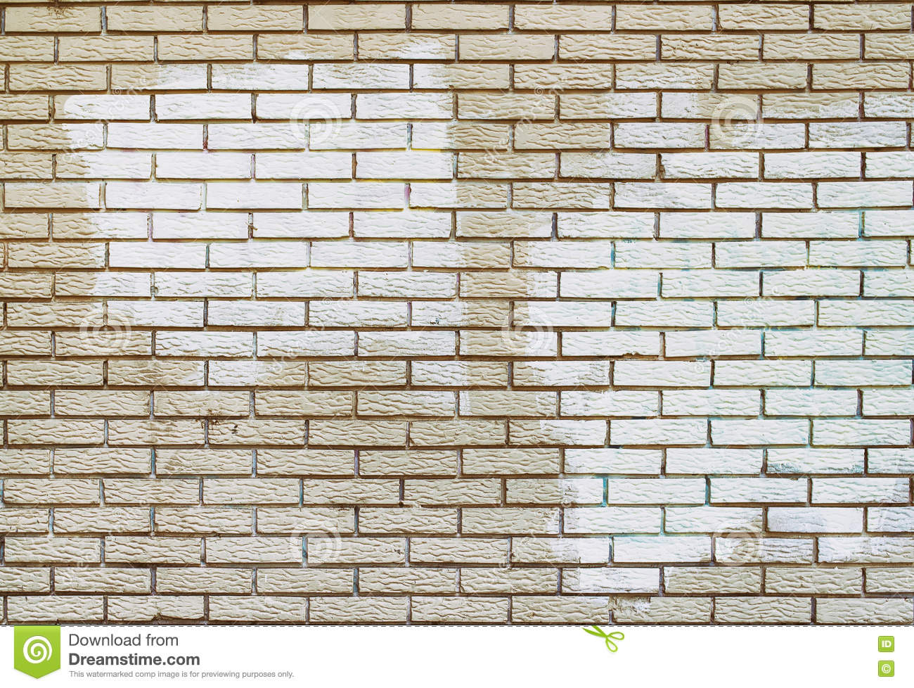 Graffiti Removal With White Paint Over Covering On Brick Wall Stock Image Image 71165075