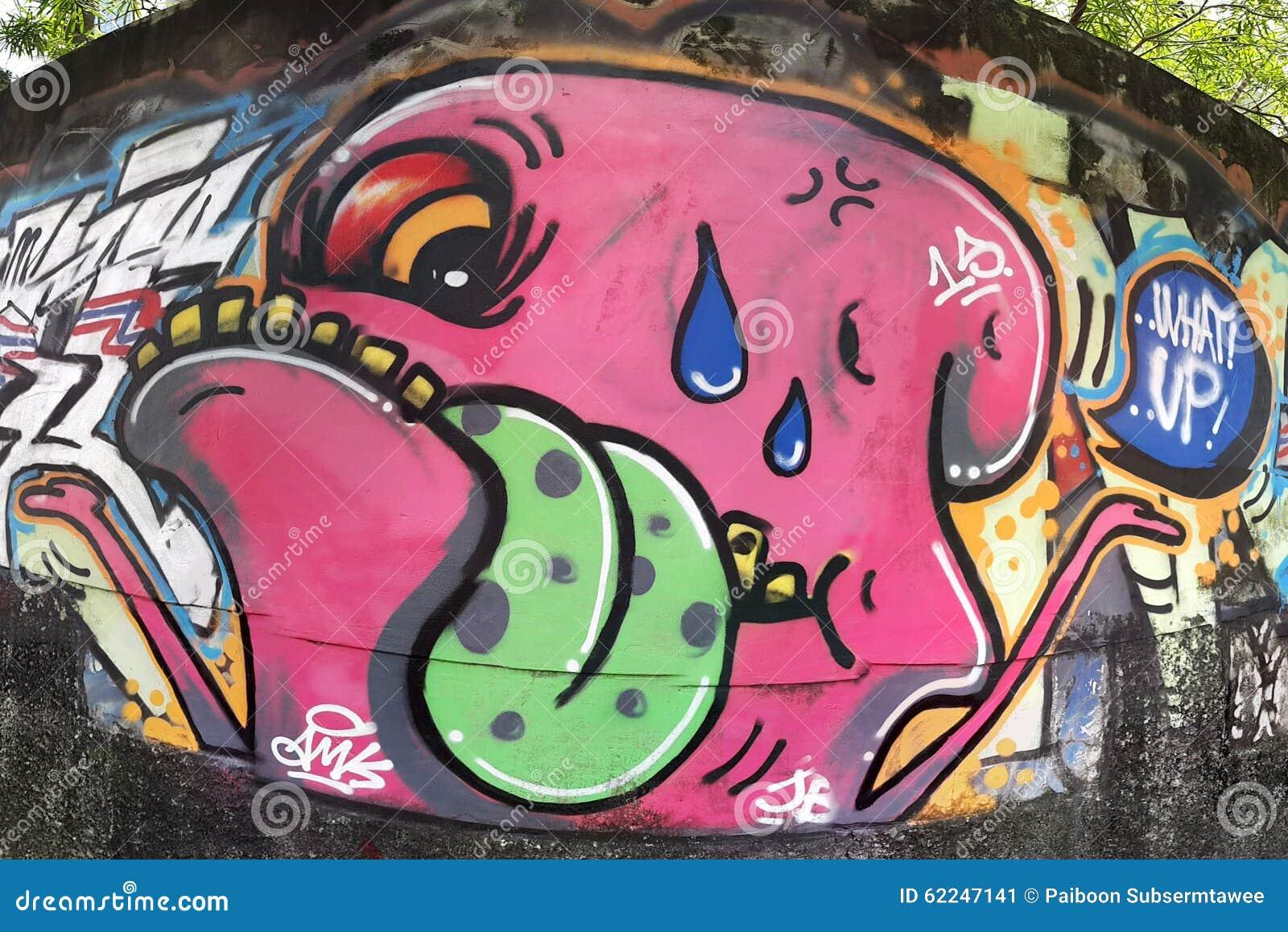 Graffiti rosa del mostro