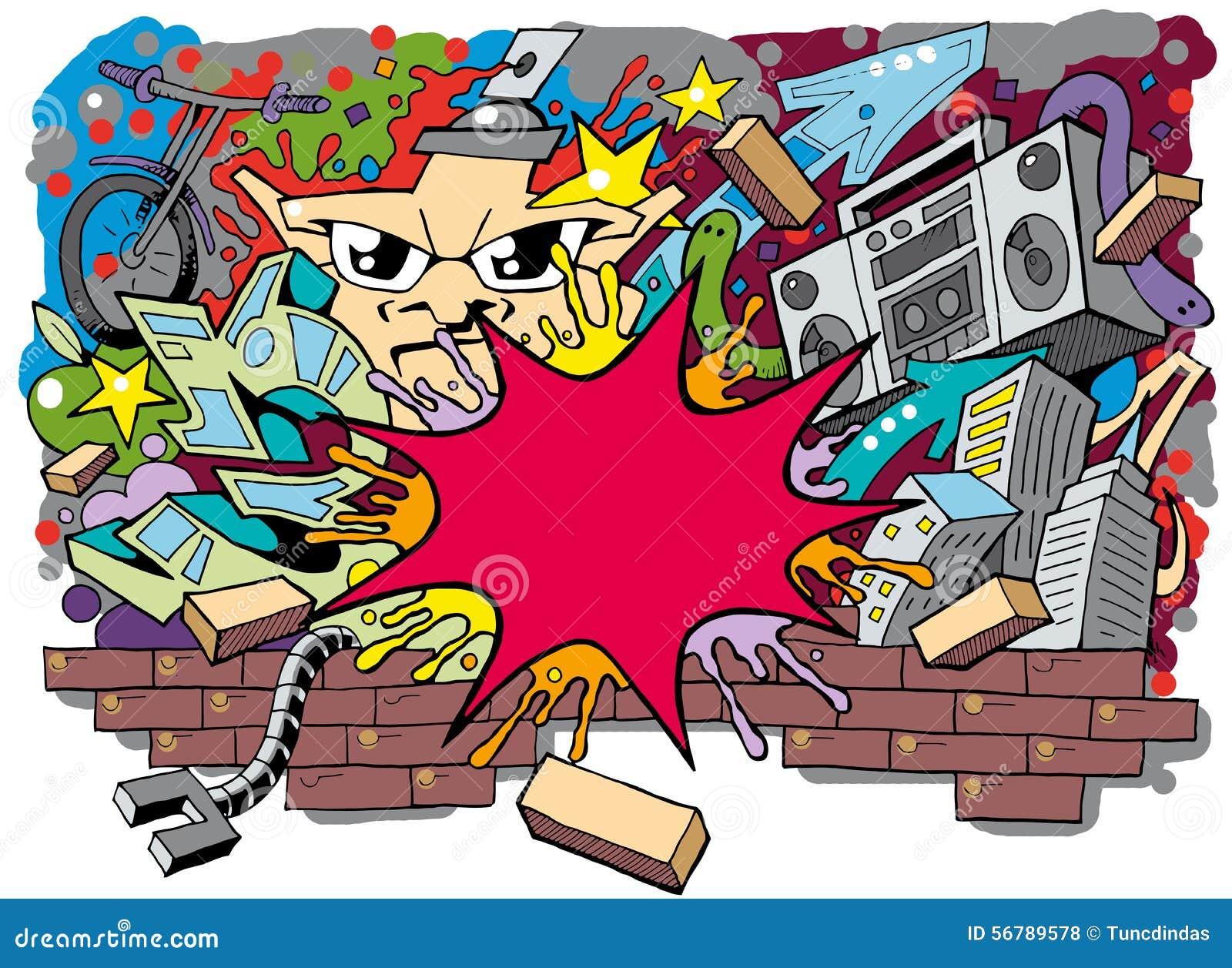 Royalty free vector graffiti skate roller background 03