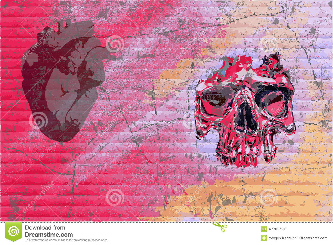 Download Graffiti Skull And Heart Stock Vector Illustration Of