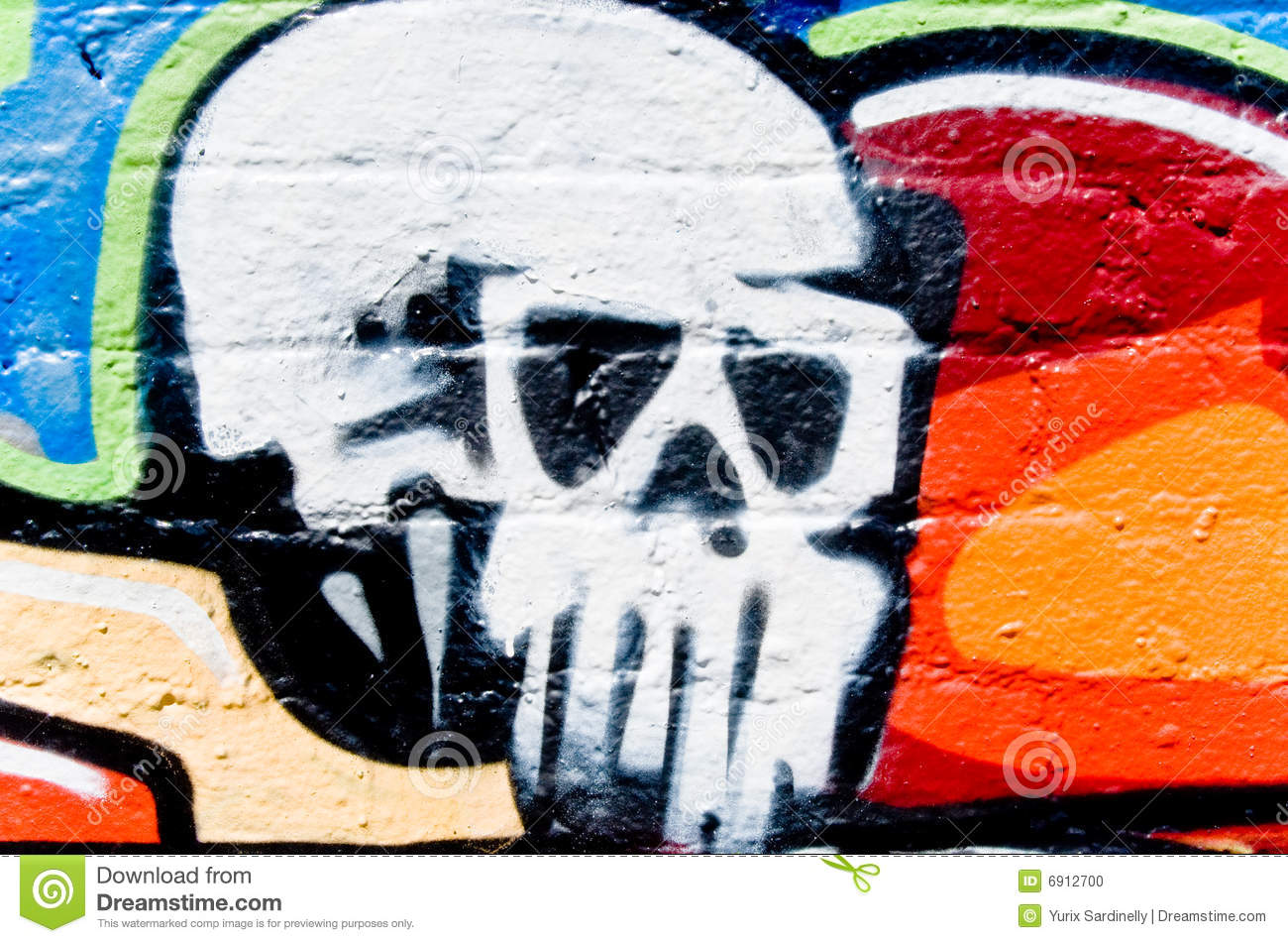 Download Graffitiskull On The Wall Stock Illustration Illustration Of Orange