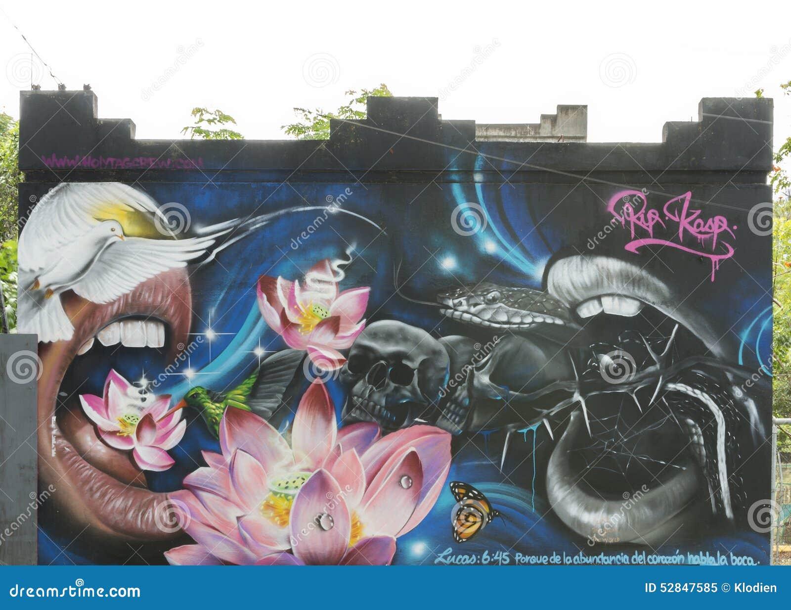 Graffiti Of Snake, Birds, Skulls, Mouth, Lotus, Butterfly ...
