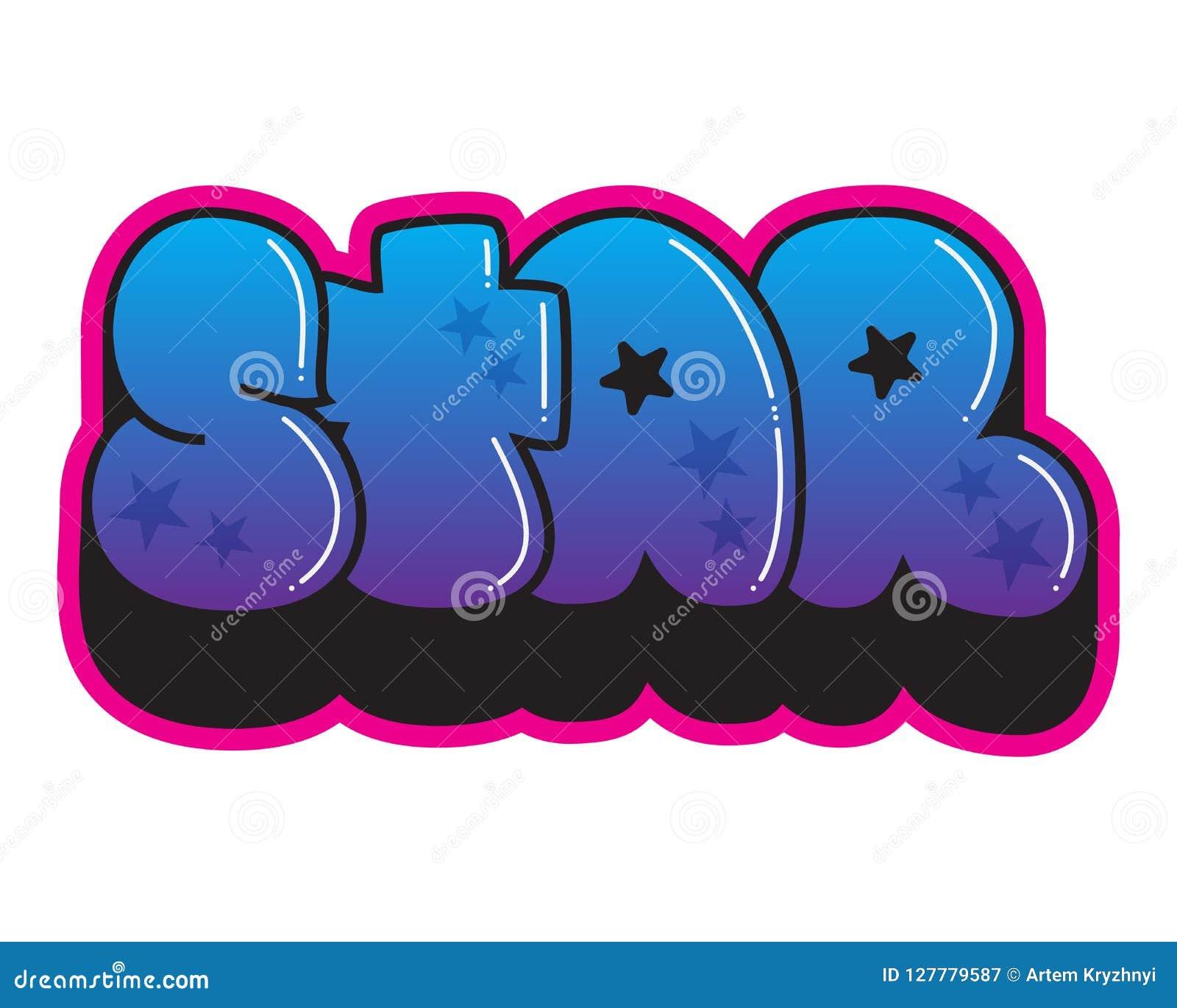 graffiti star word street art spray paint sticker stock vector