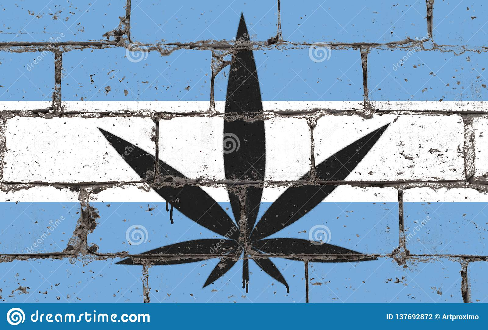 Composite Image Of Stencil Graffiti >> Graffiti Street Art Spray Drawing On Stencil Cannabis Leaf On Brick