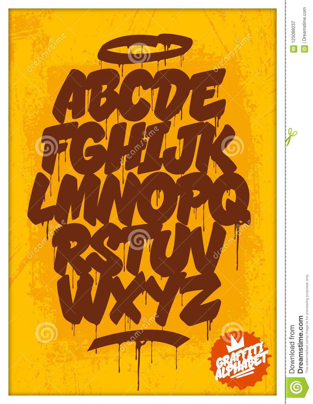 Graffiti and street art letters on dirty rusty background vector