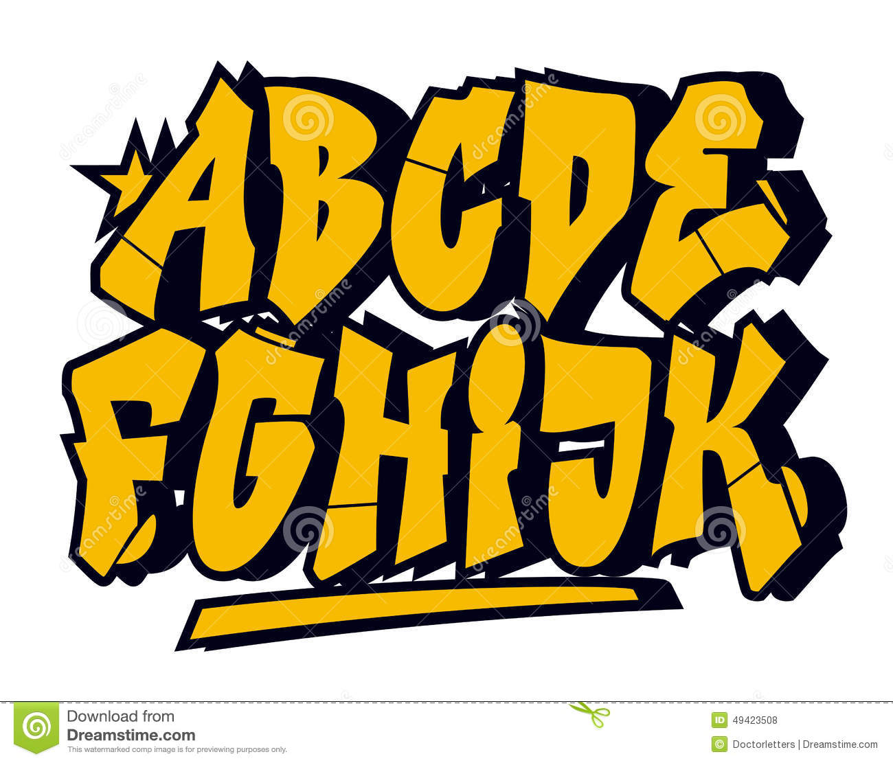 Graffiti Style Font Vector Alphabet Part 1 Stock Vector