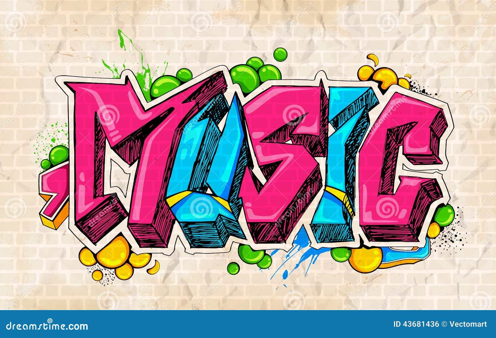 Music Graffiti Wallpapers: Graffiti Style Music Background Stock Vector