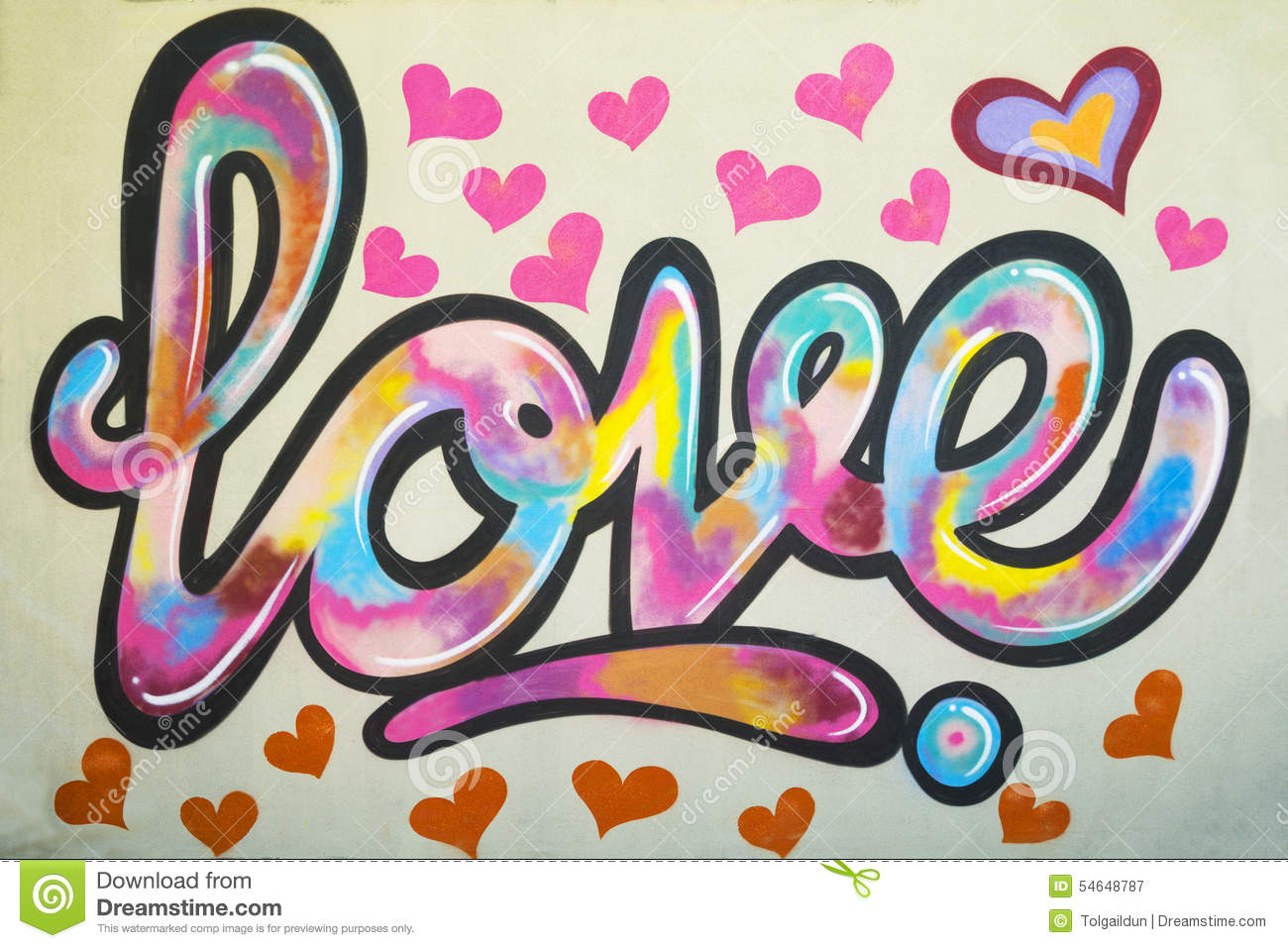 Graffiti wall text - Graffiti Text Love On The Wall With Many Pink Colored Heart Shapes Around Stock Photo