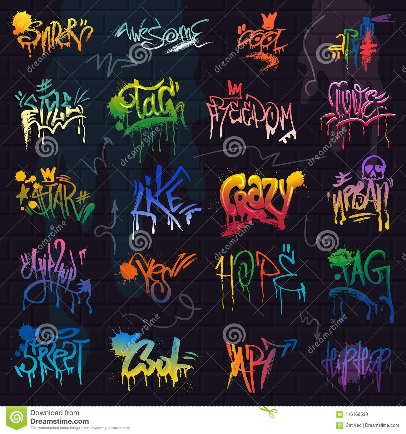 Graffiti vector graffito of brushstroke lettering or graphic grunge typography illustration set of street text with love