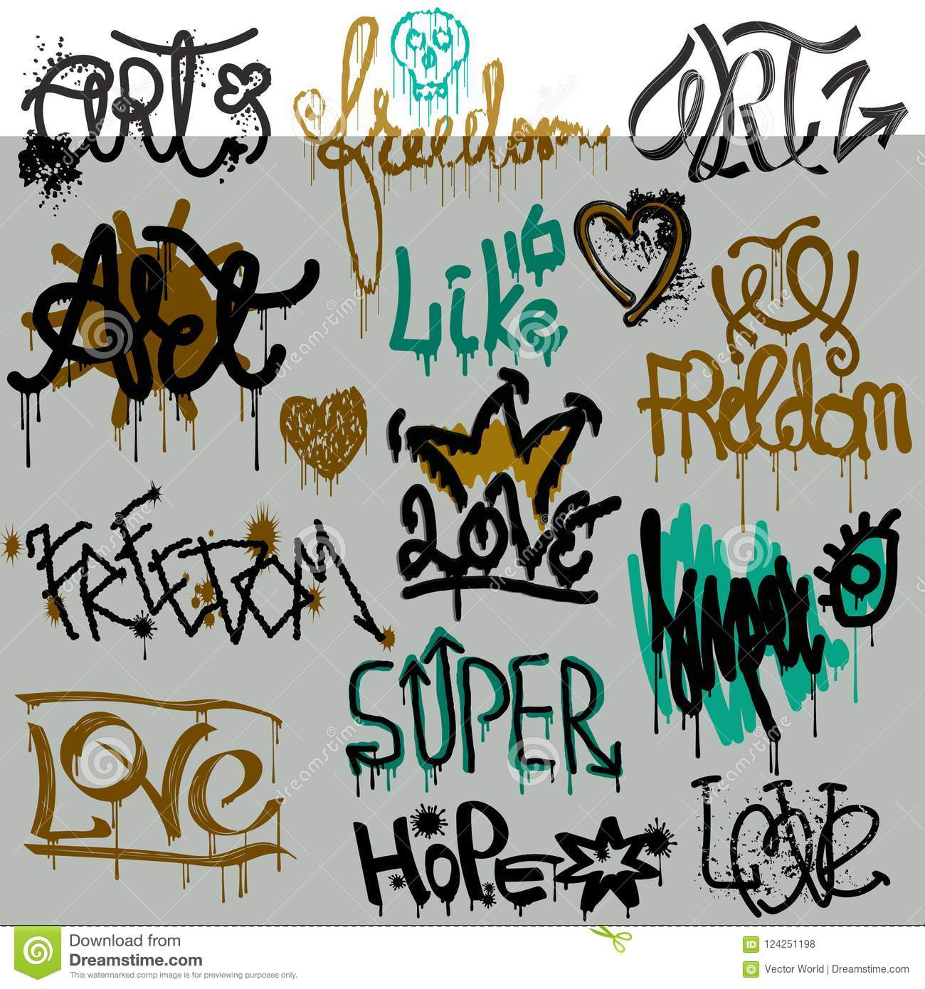 Graffity vector street art graffiti grunge font by spray or brush stroke on wall illustration urban set of love freedom text lettering isolated on white