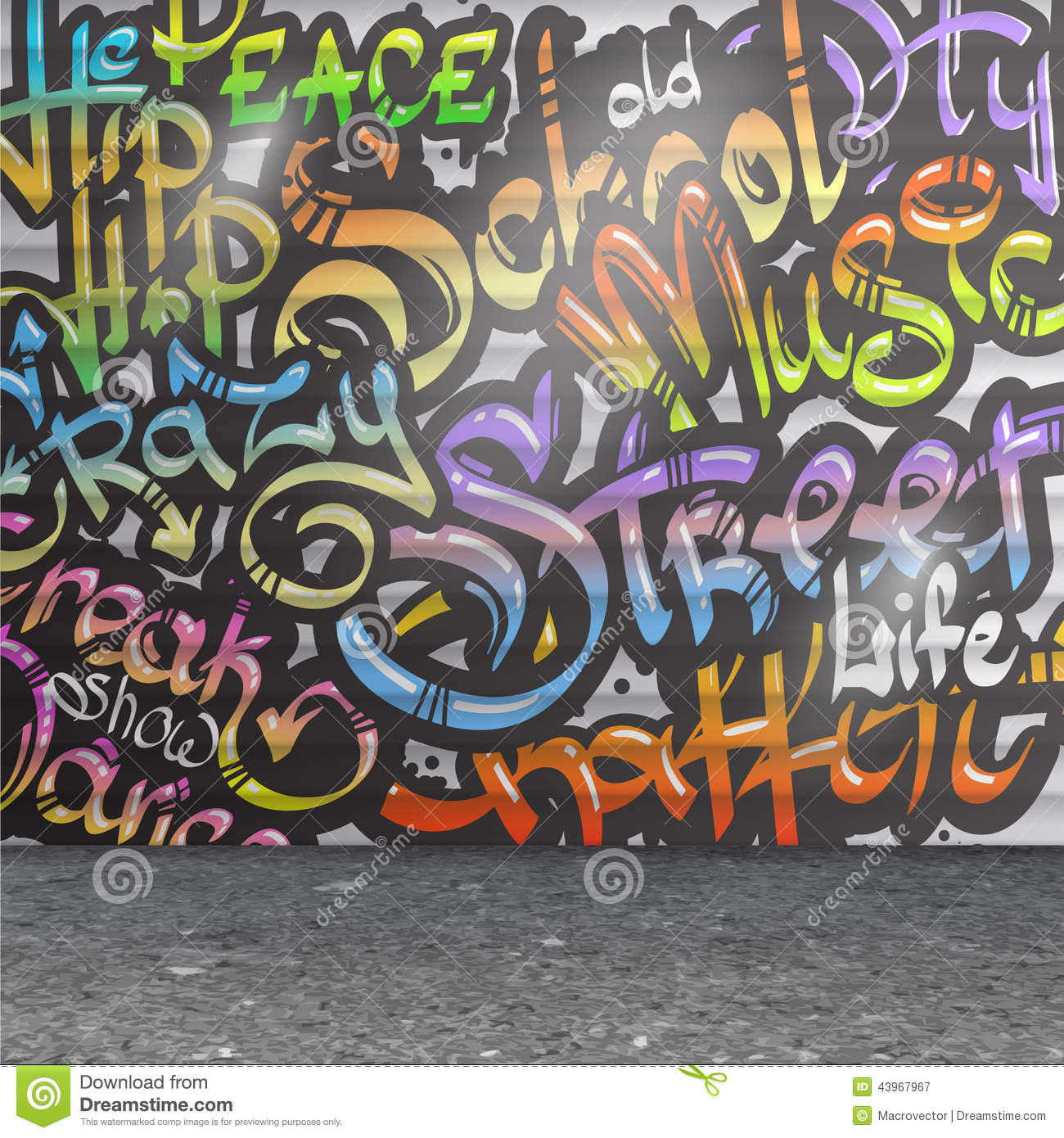 Graffiti Wall Background Stock Vector Image 43967967