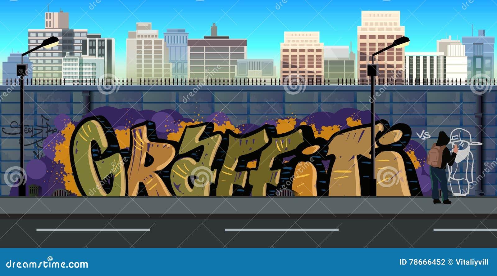 Graffiti wall vector free - Art Background Graffiti Illustration Urban Vector Wall