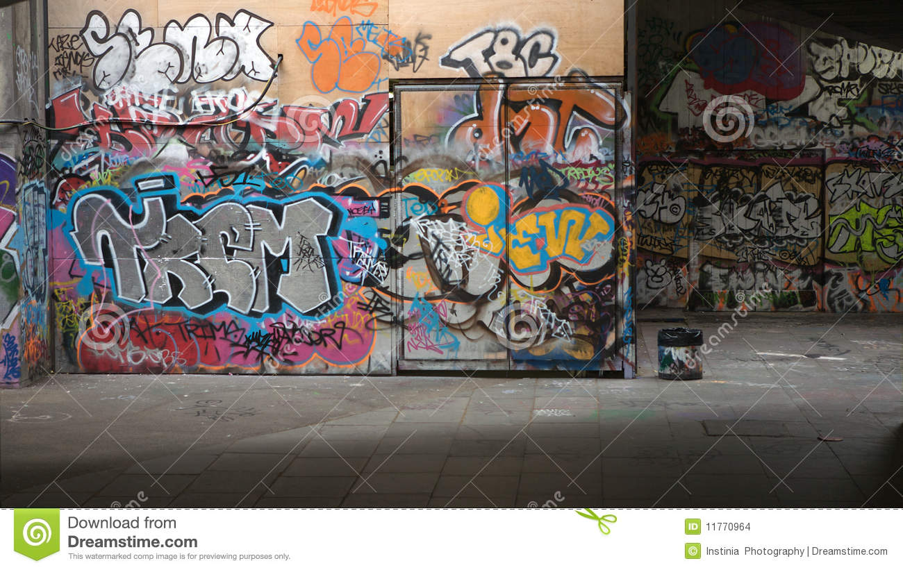 The Wall With City Graffiti
