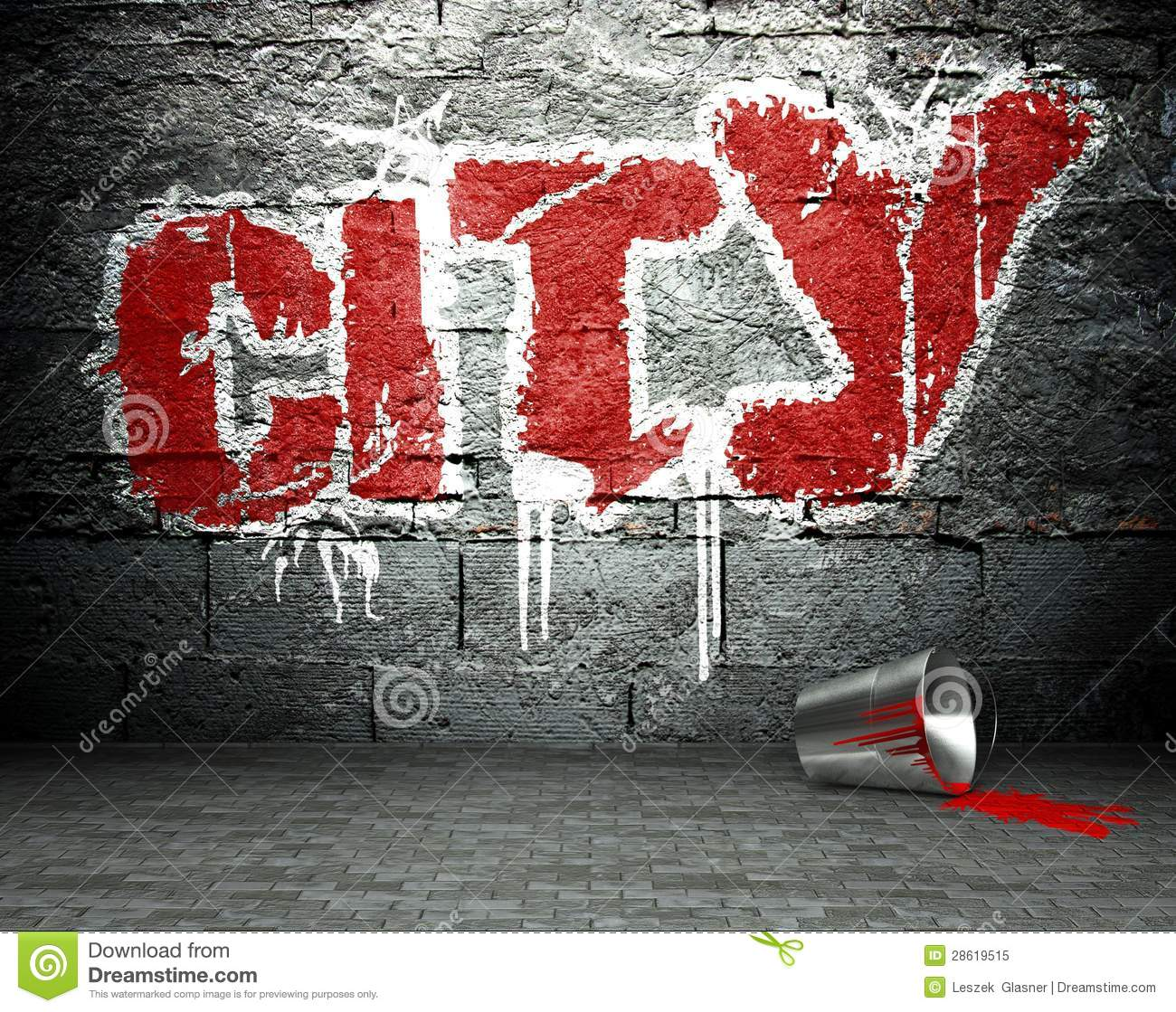Graffiti Wall With City, Street Background Royalty Free