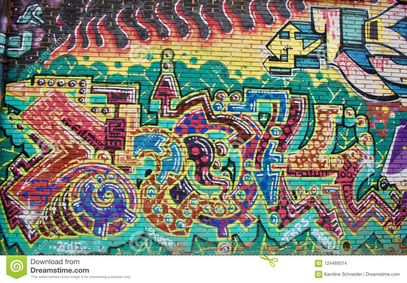 Graffiti Wall Color Leters Bricks Psychedelic Editorial Stock Image