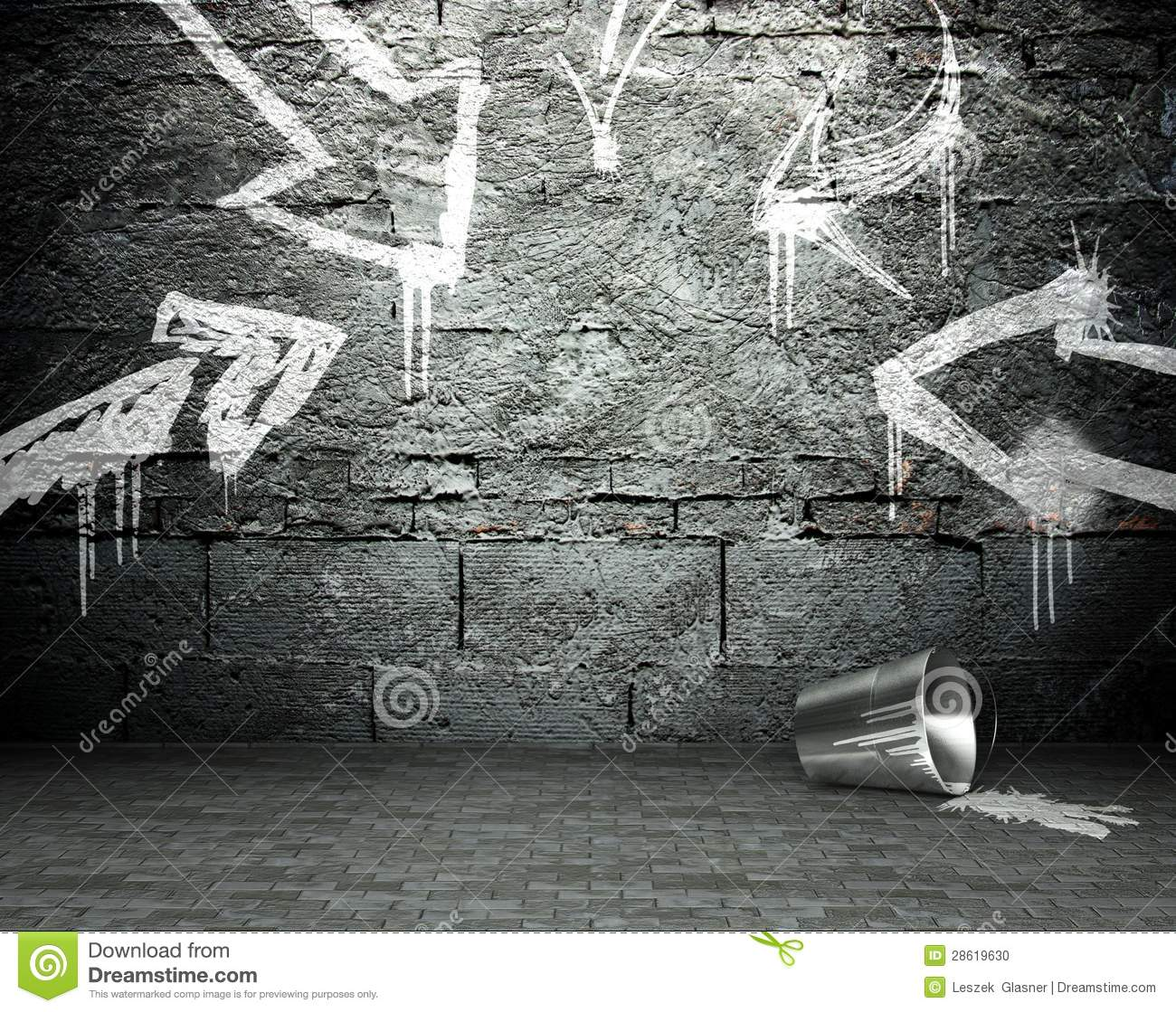 Grafitti wall background - Graffiti Wall With Frame And Arrows Street Background Stock Photo