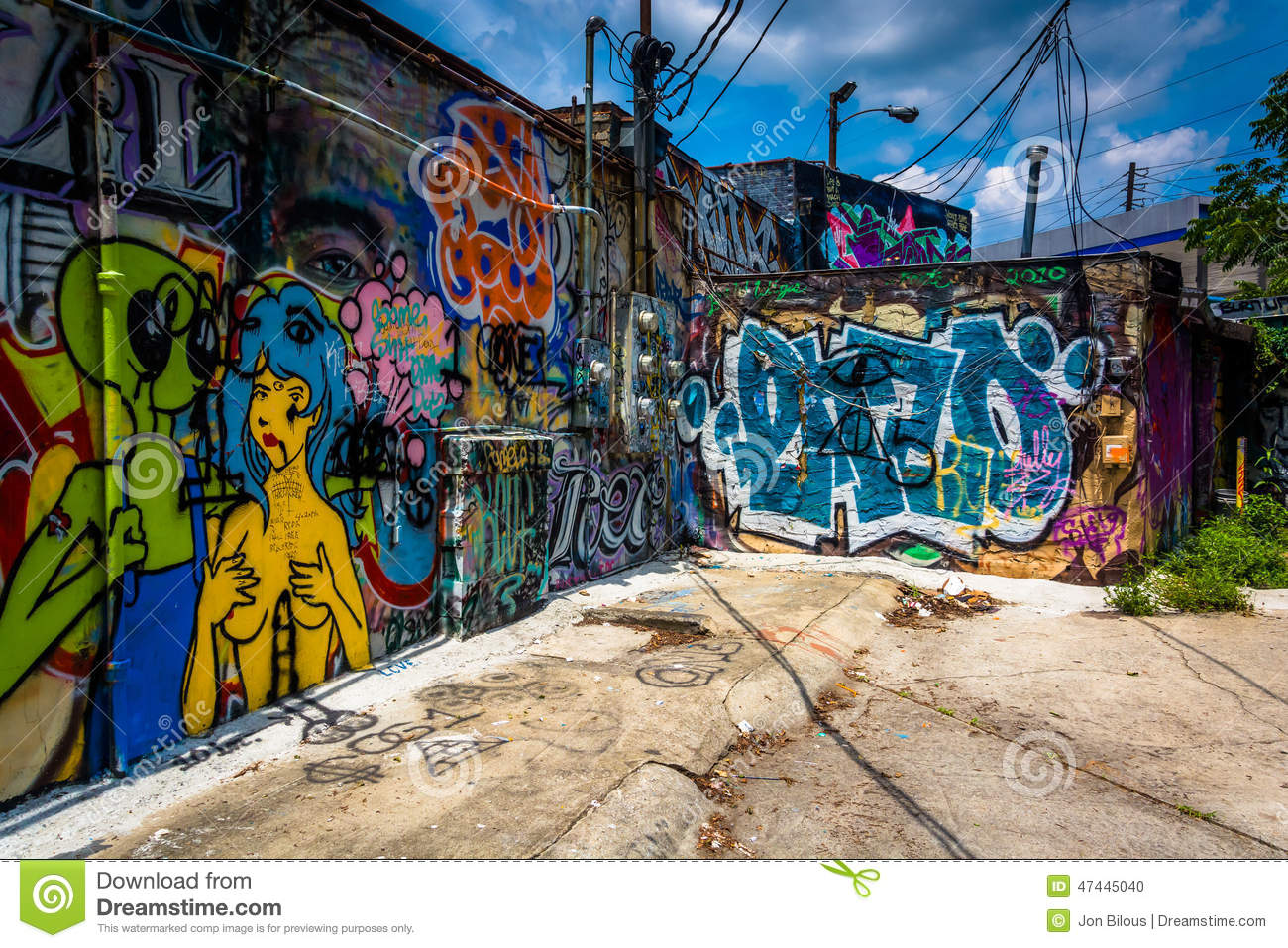 Graffiti wall atlanta - Graffiti On Walls In An Alley In Little Five Points Atlanta Ge Stock Photo