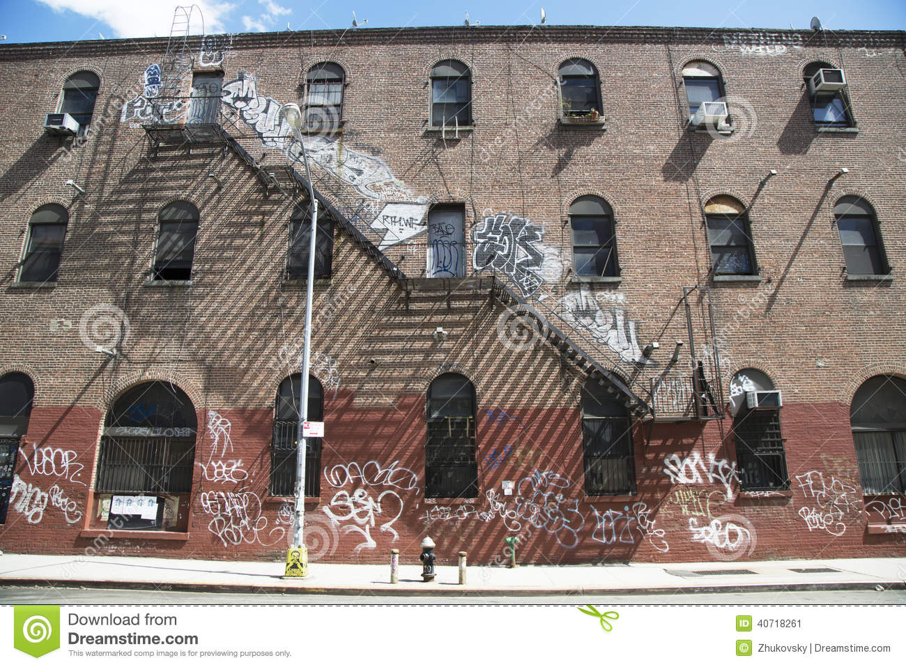 Graffiti In Williamsburg Section In Brooklyn Editorial Photo