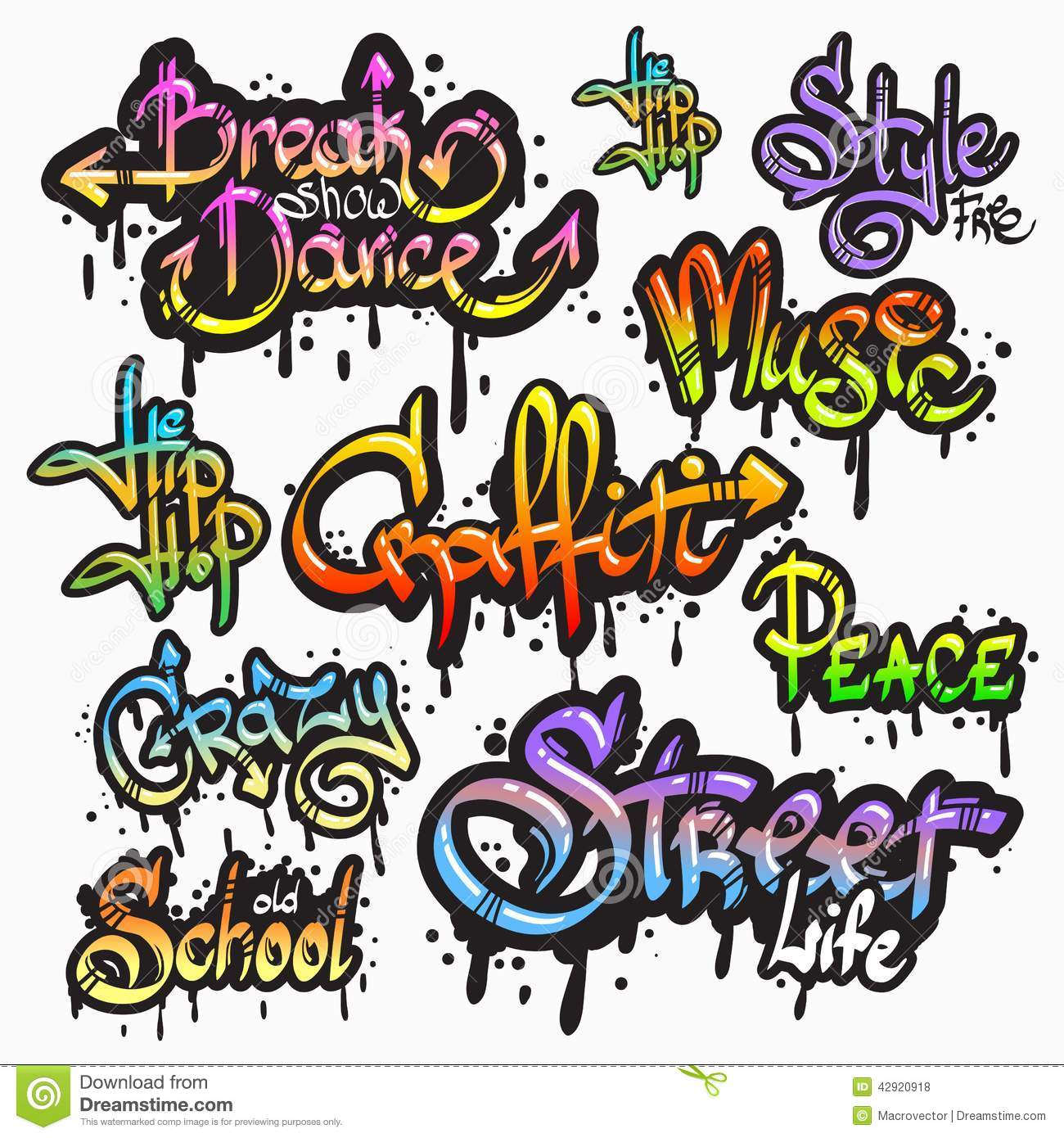 Expressive collection of graffiti urban youth art individual words digital spray paint creator grunge isolated vector illustration