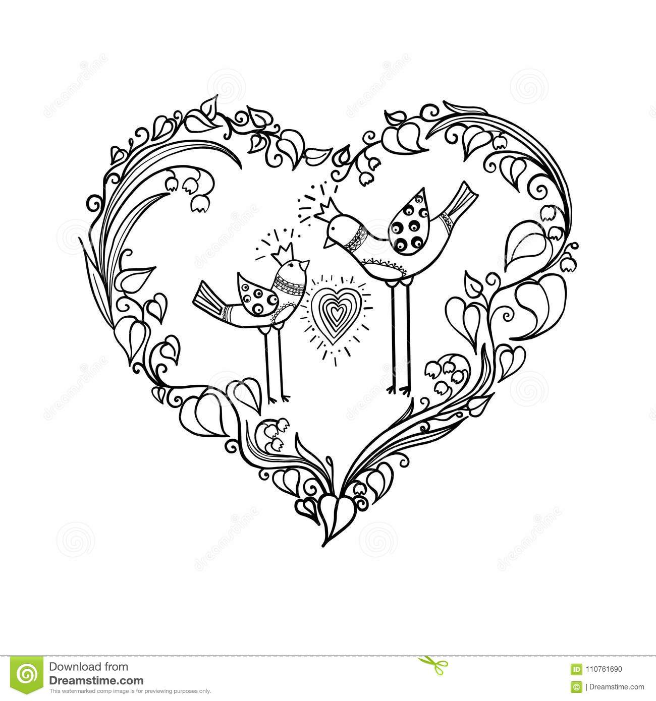 Two Love Birds With Heart Floral Ornament Love Print Concept Monochrome Vector Eps 10 Illustration Stock Vector Illustration Of Cute Anniversary 110761690