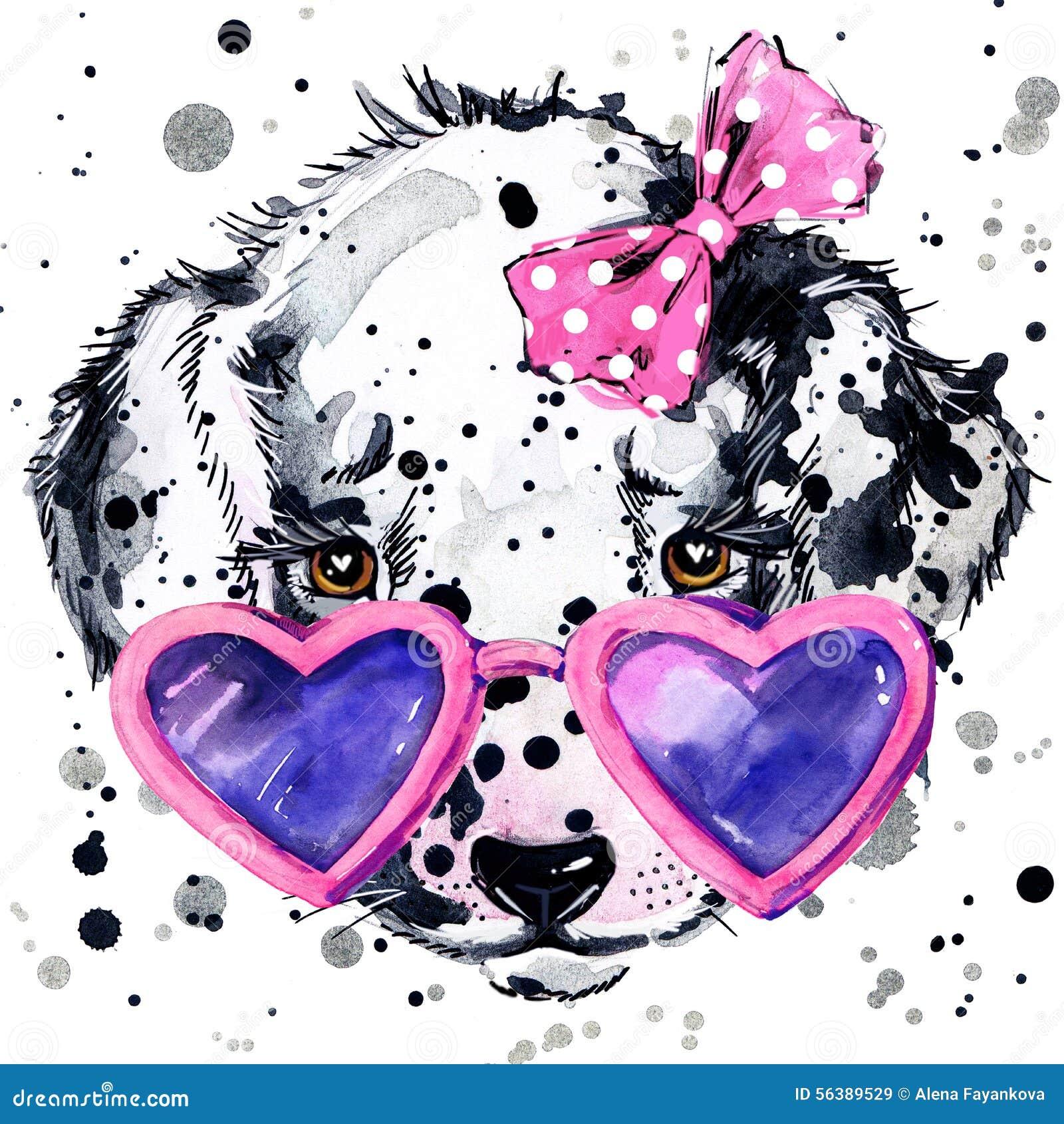Grafici dalmata della maglietta del cucciolo di cane Illustrazione del cucciolo di cane con il fondo strutturato dell acquerello