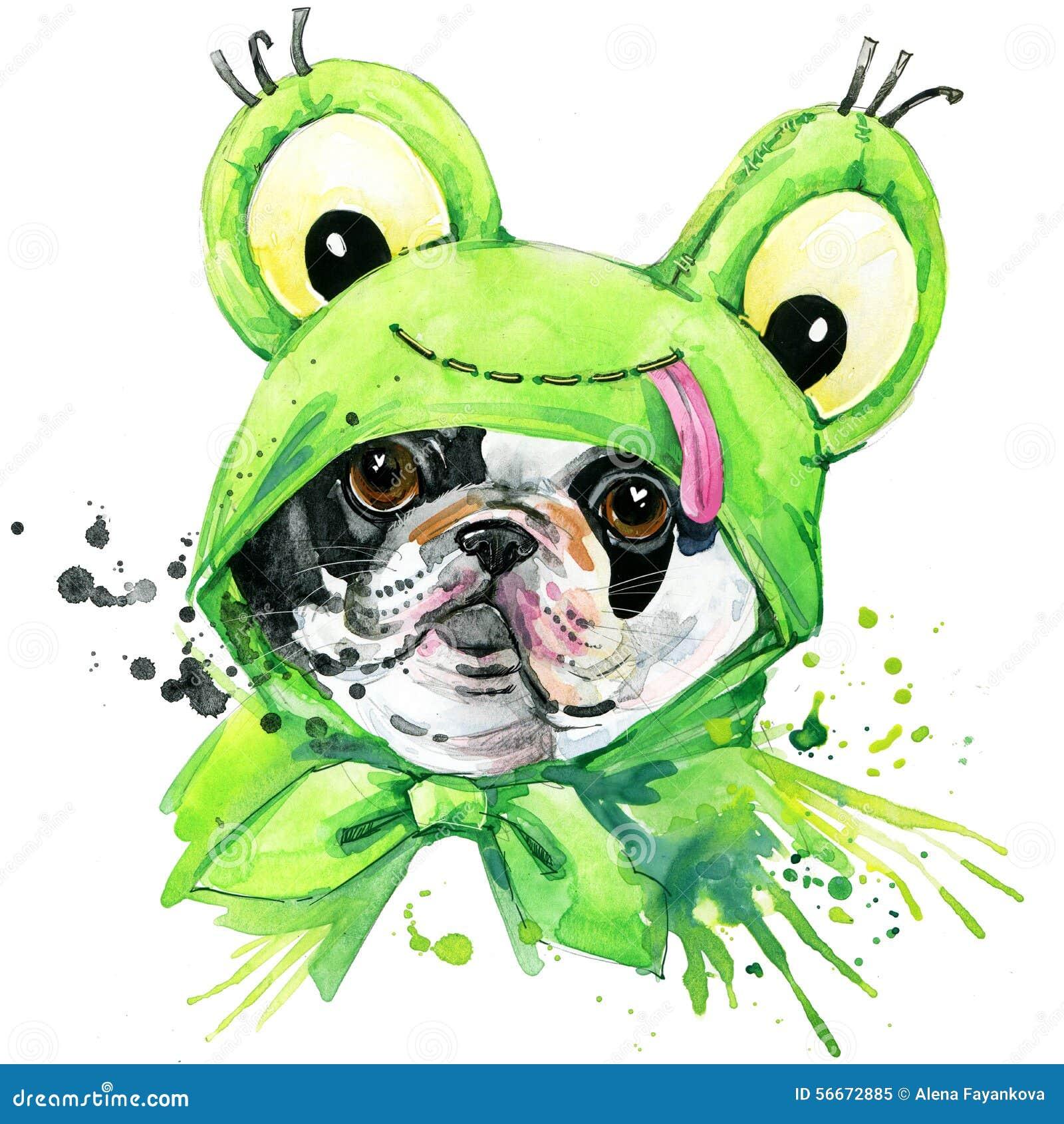 Grafici della maglietta del cane del bulldog francese l illustrazione del bulldog francese con l acquerello della spruzzata ha st