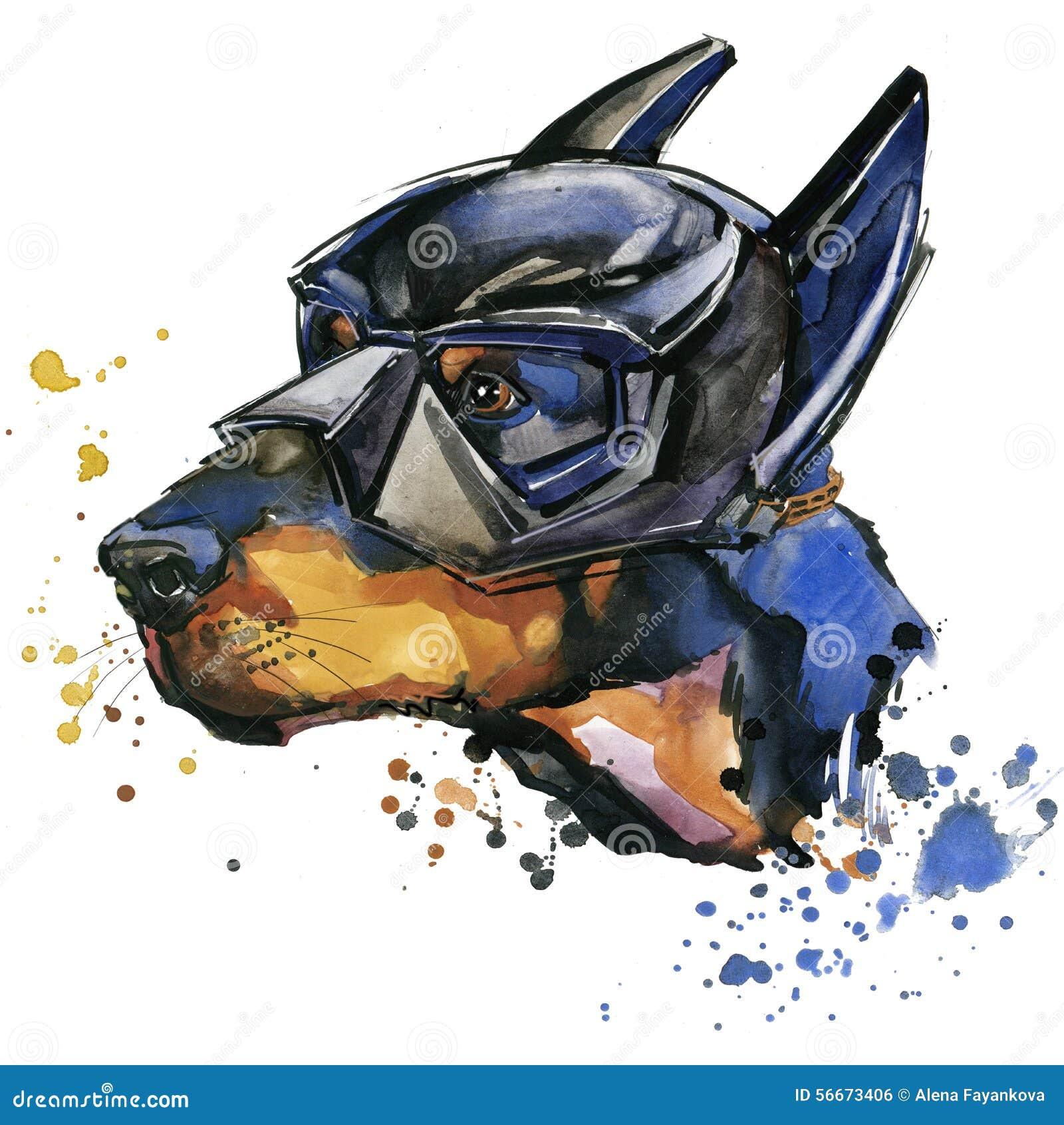 Grafici della maglietta del cane del doberman L illustrazione del cane del doberman con l acquerello della spruzzata ha struttura