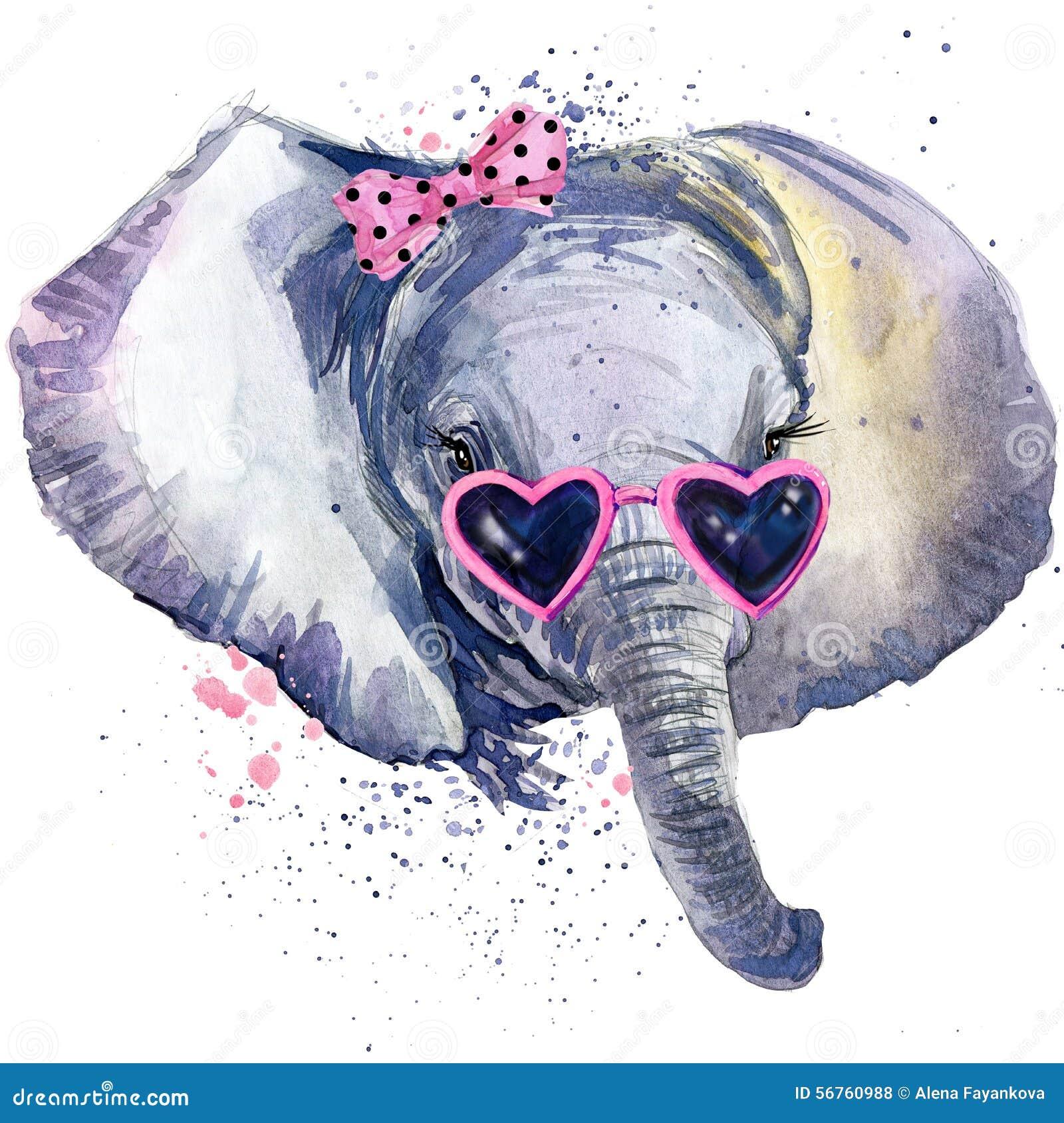 Grafici della maglietta dell elefante del bambino l illustrazione dell elefante del bambino con l acquerello della spruzzata ha s