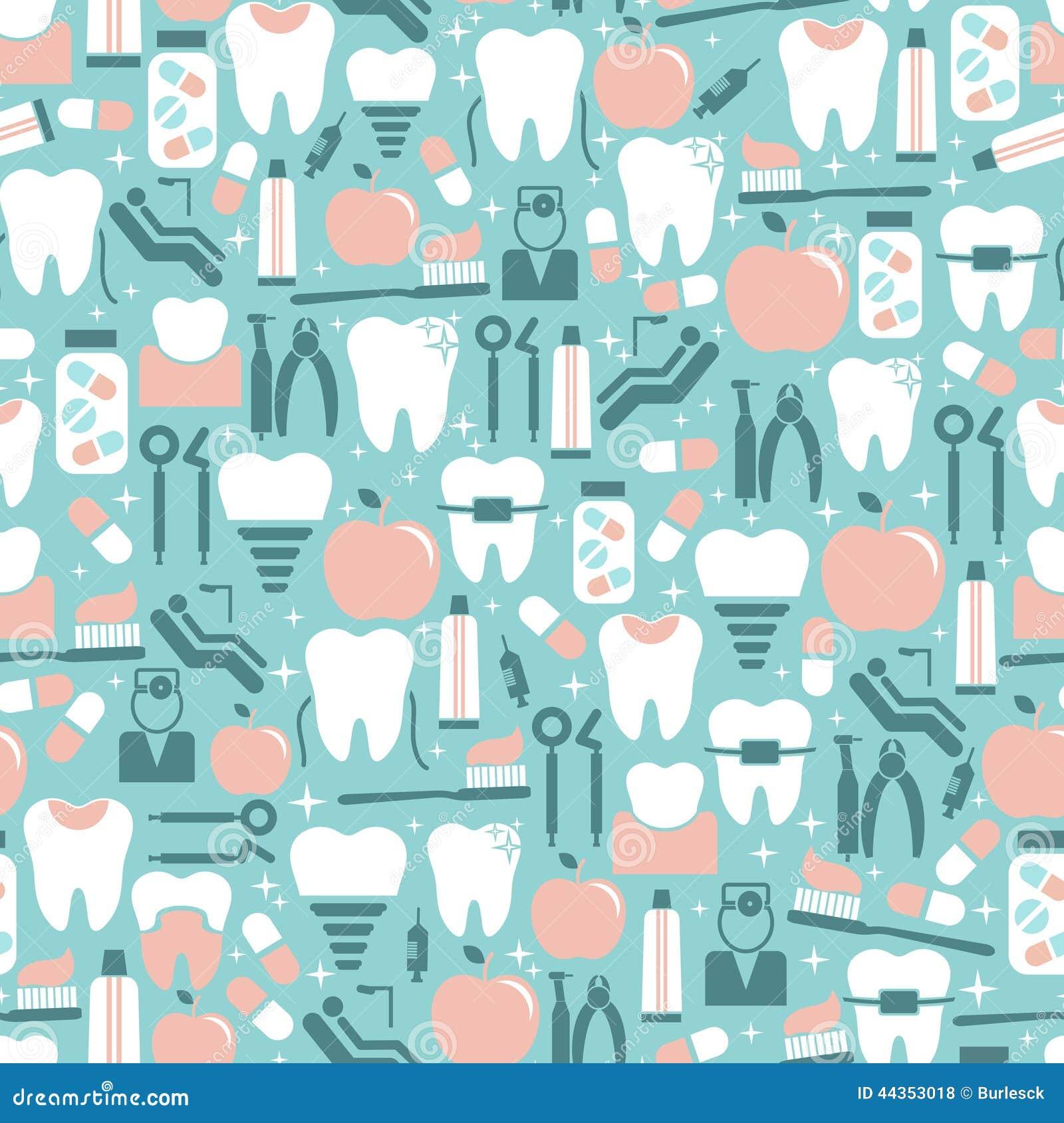 Grafici di cure odontoiatriche su fondo blu