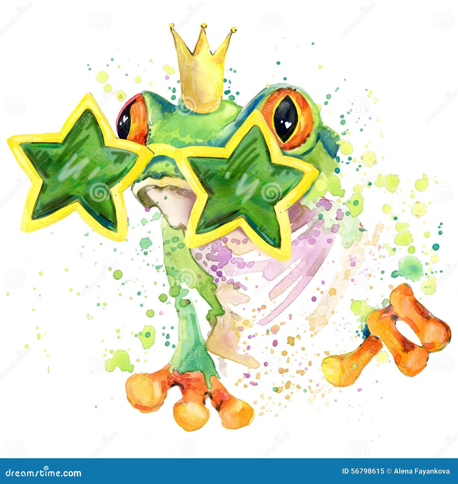 Grafici freschi della maglietta della rana l illustrazione della rana verde con l acquerello della spruzzata ha strutturato il fo