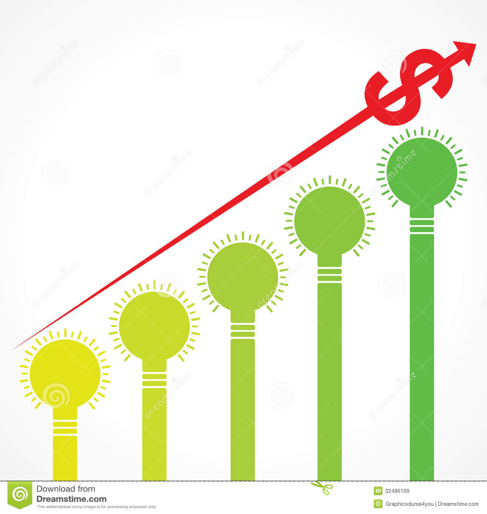 Grafico in aumento della freccia del dollaro e barre fatte for Disegni della barra del garage