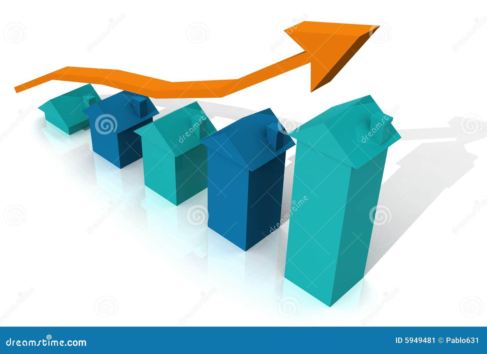 Grafico blu della casa 3D con la freccia