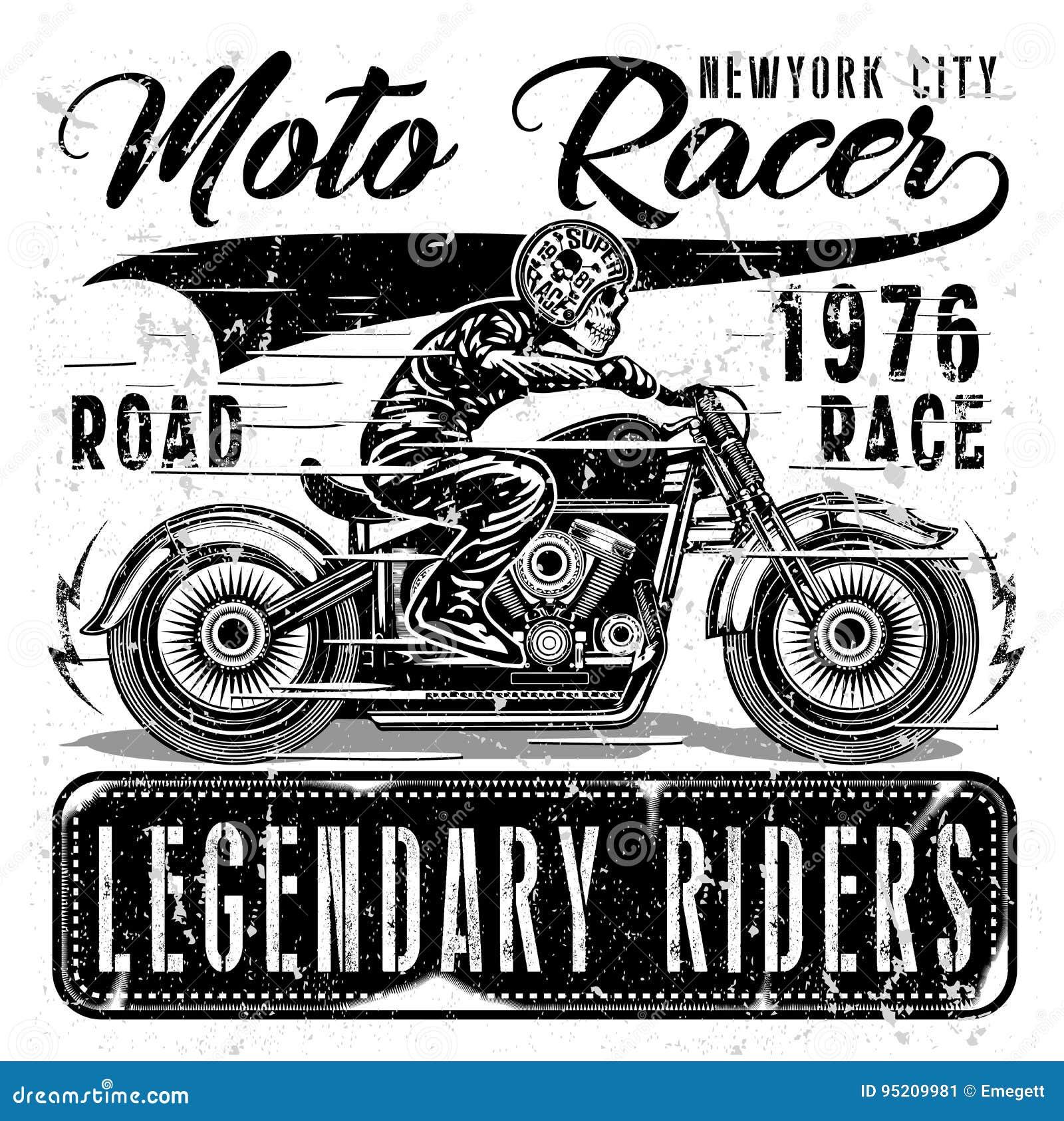 Grafico d annata della maglietta del motociclo