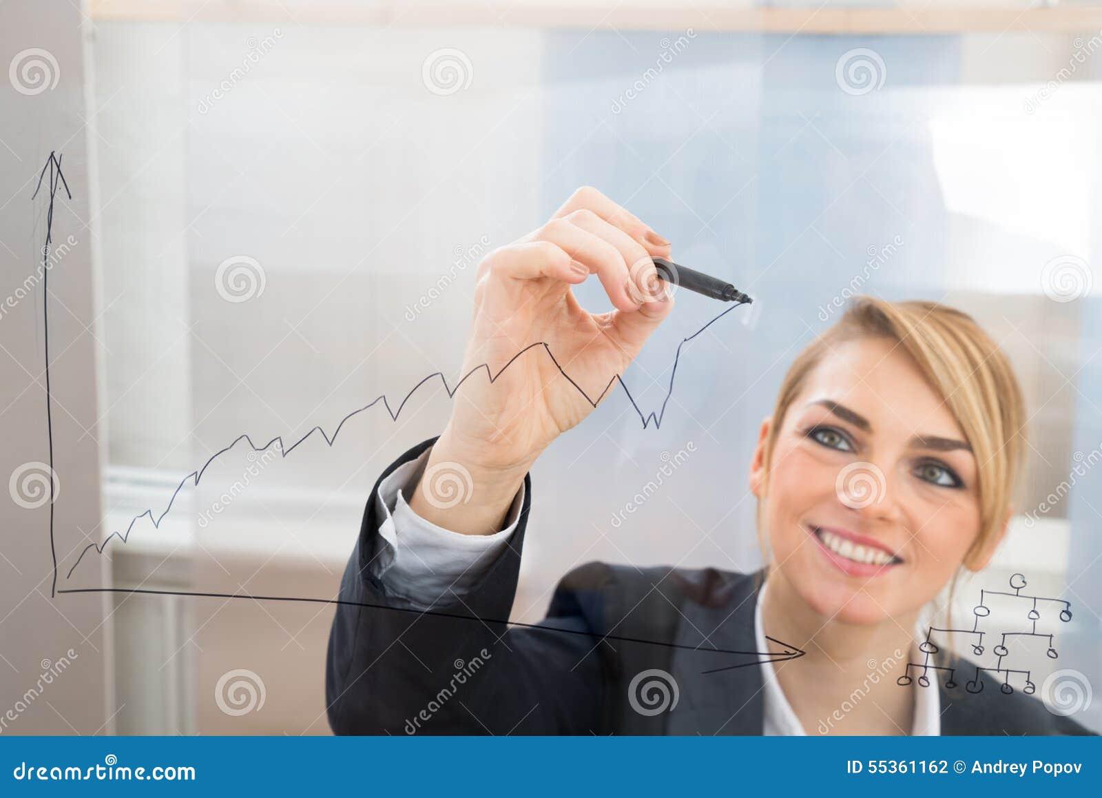 Grafico del disegno della donna di affari sullo schermo di vetro