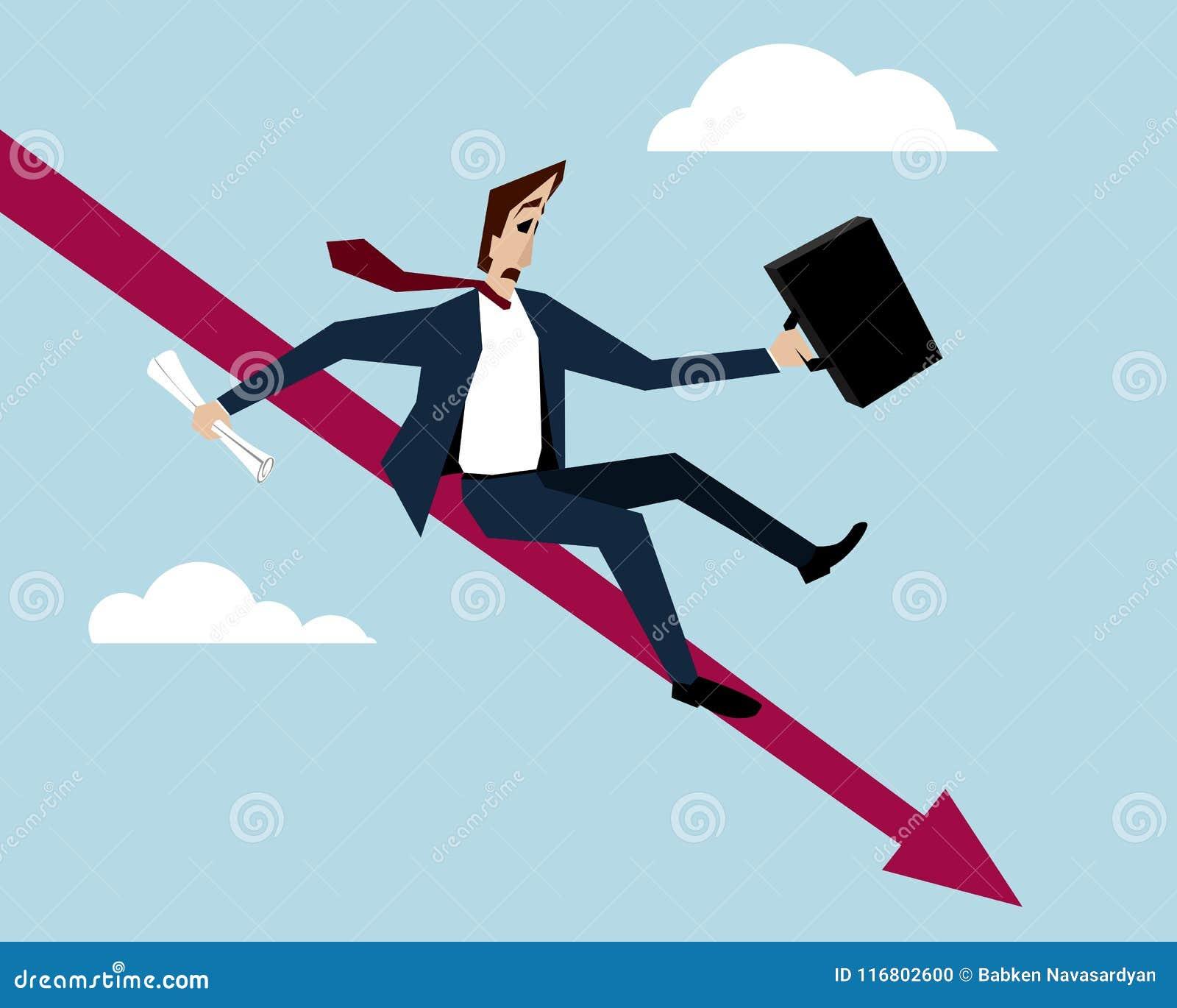 Grafico di On Falling Down dell uomo d affari
