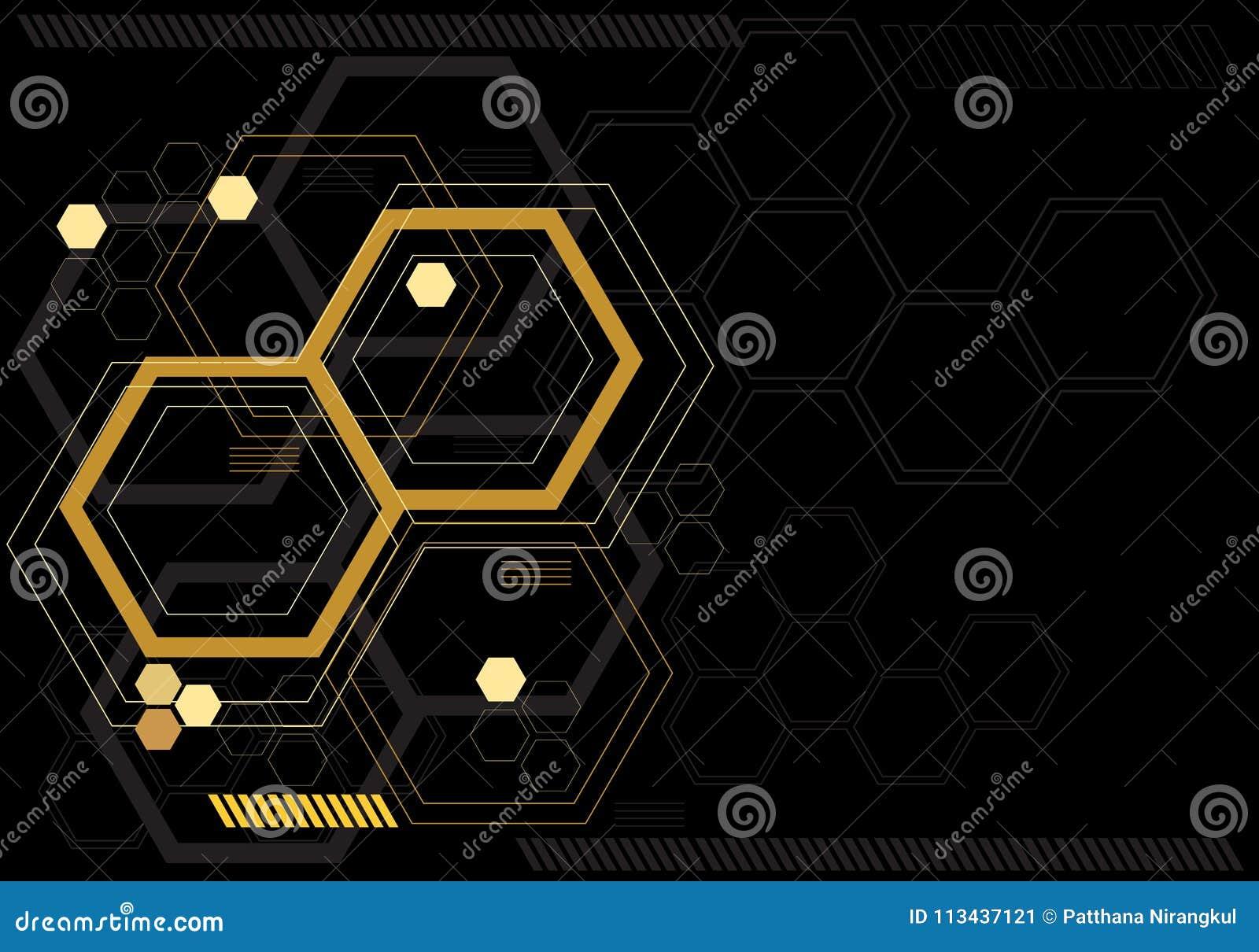Grafico digitale di esagono giallo astratto sul vettore futuristico moderno del monitor di tecnologia di progettazione nera di co