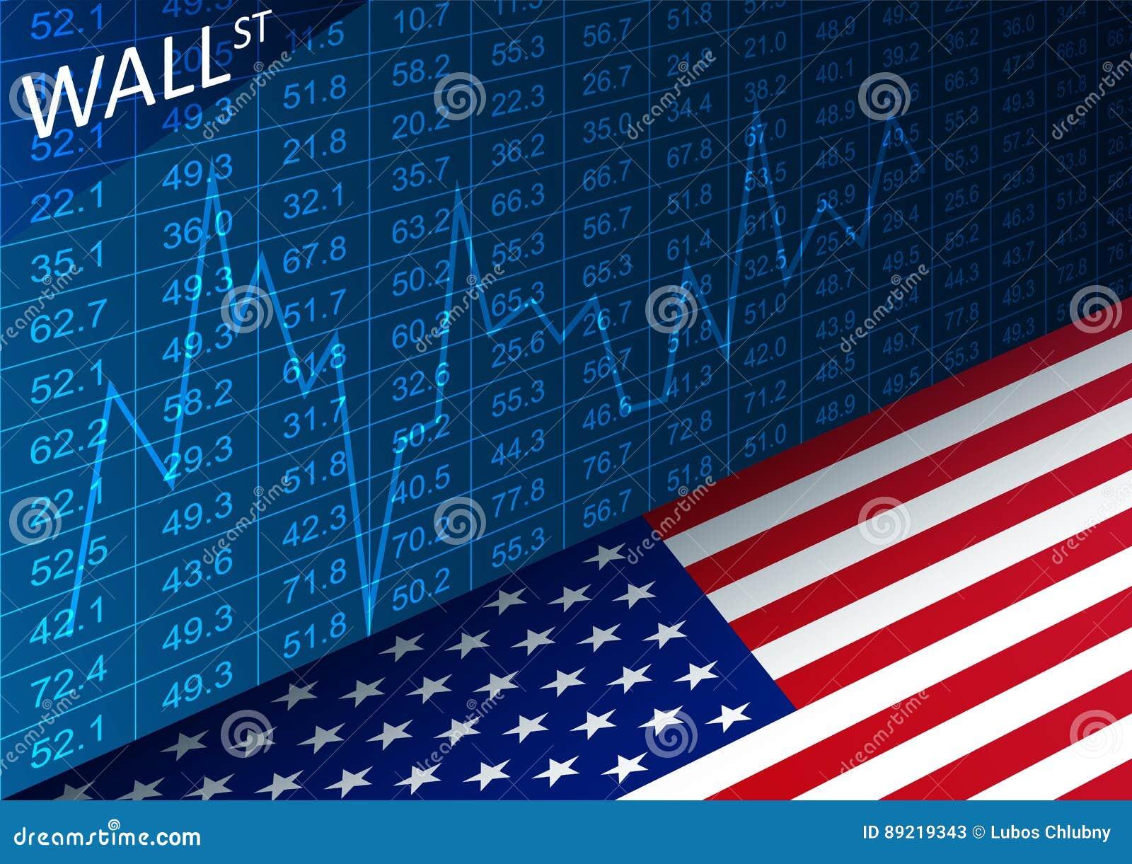 Grafico E Bandiera Americana Di Borsa Valori Dati Che ...