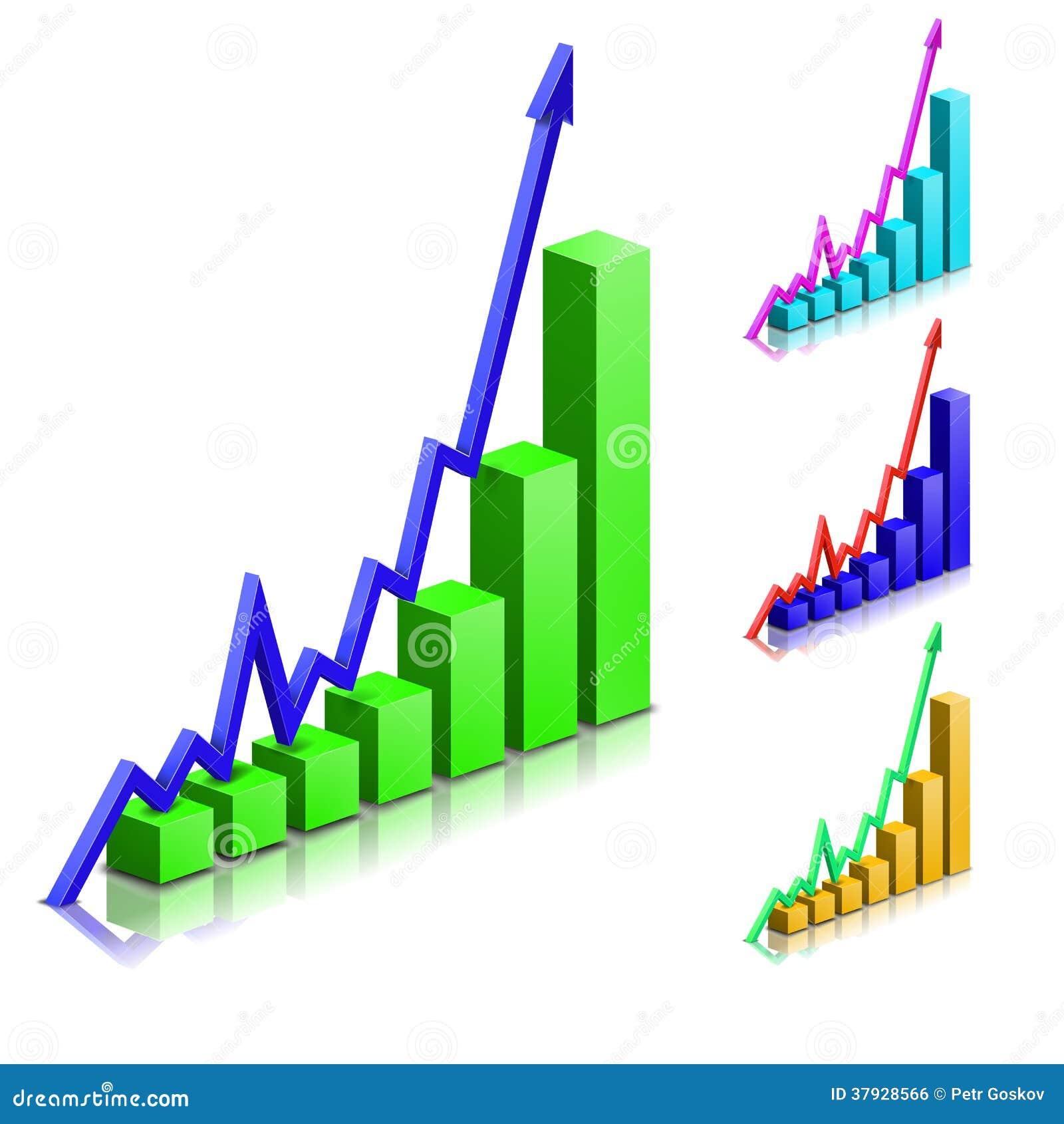 Grafico positivo di vettore della freccia di affari